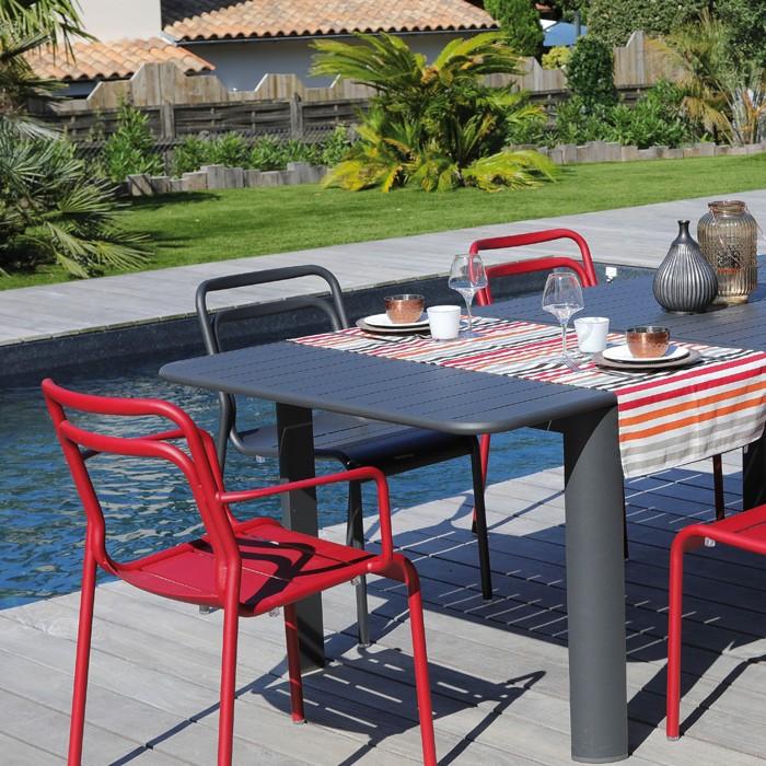 achat chaise de jardin rouge aluminium