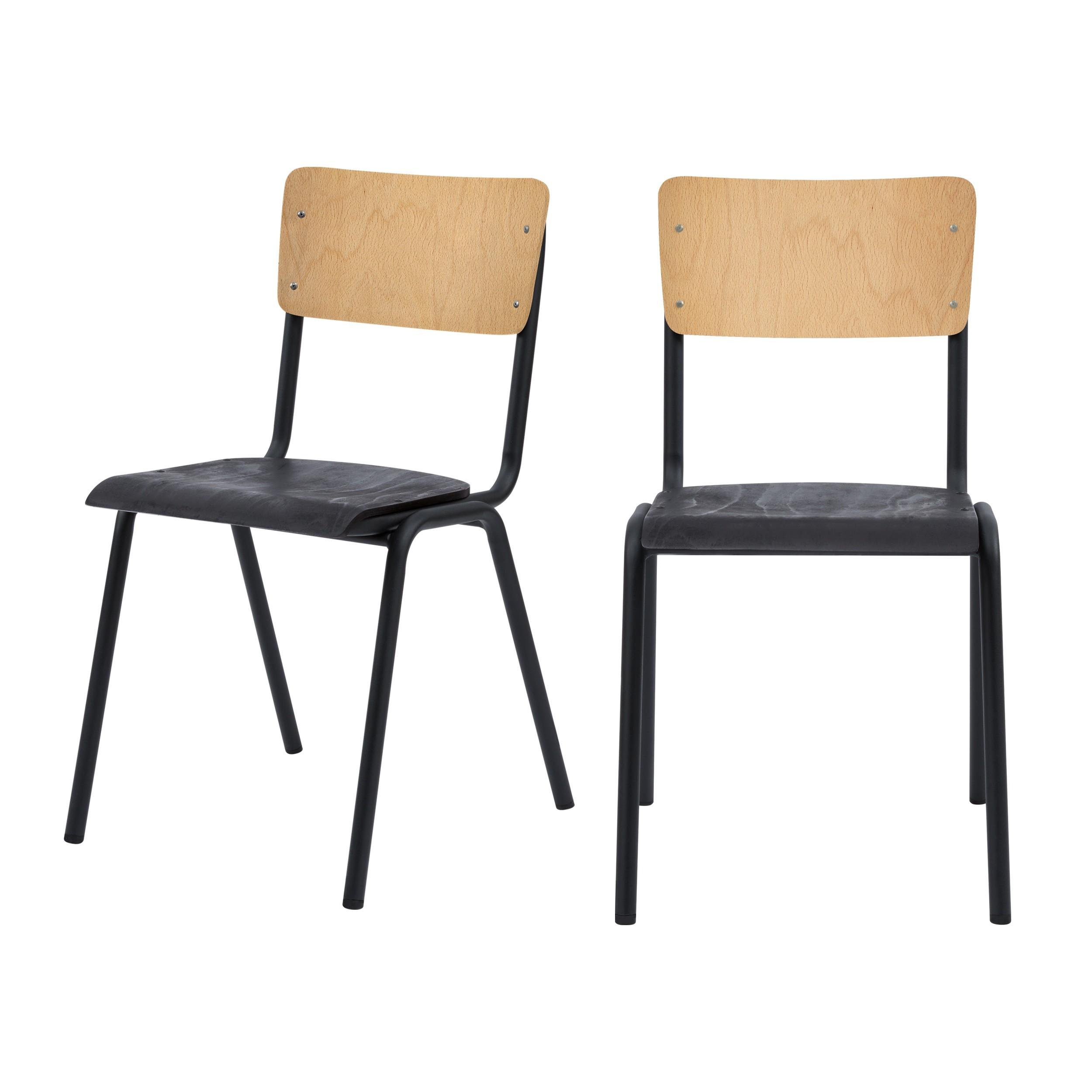 achat chaise en bois noir et clair