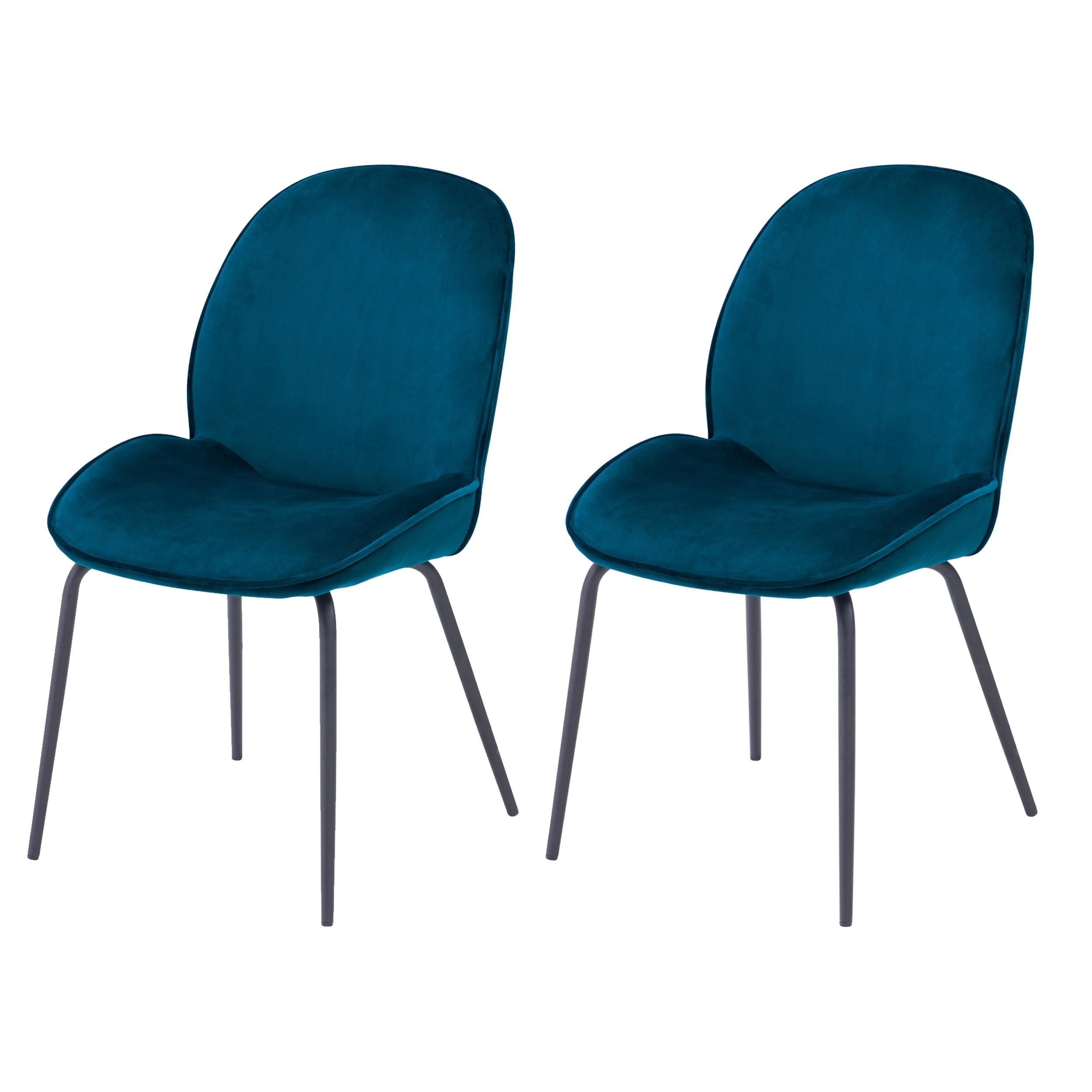 achat chaise en velours bleu fonce