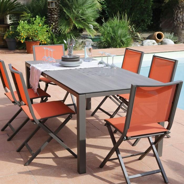achat chaise pliante de jardin orange