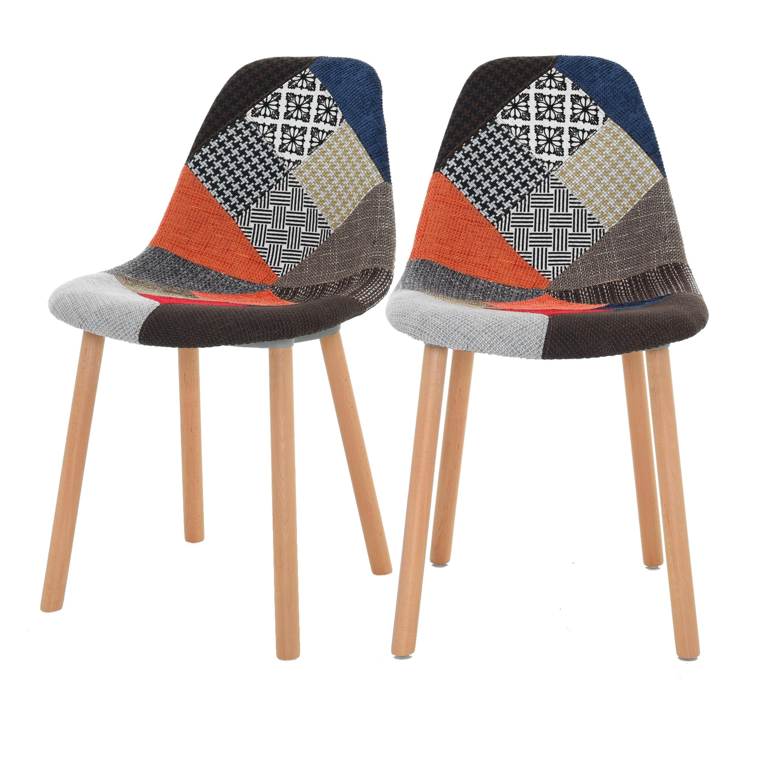 achat chaise tissu patchwork pieds bois tendance