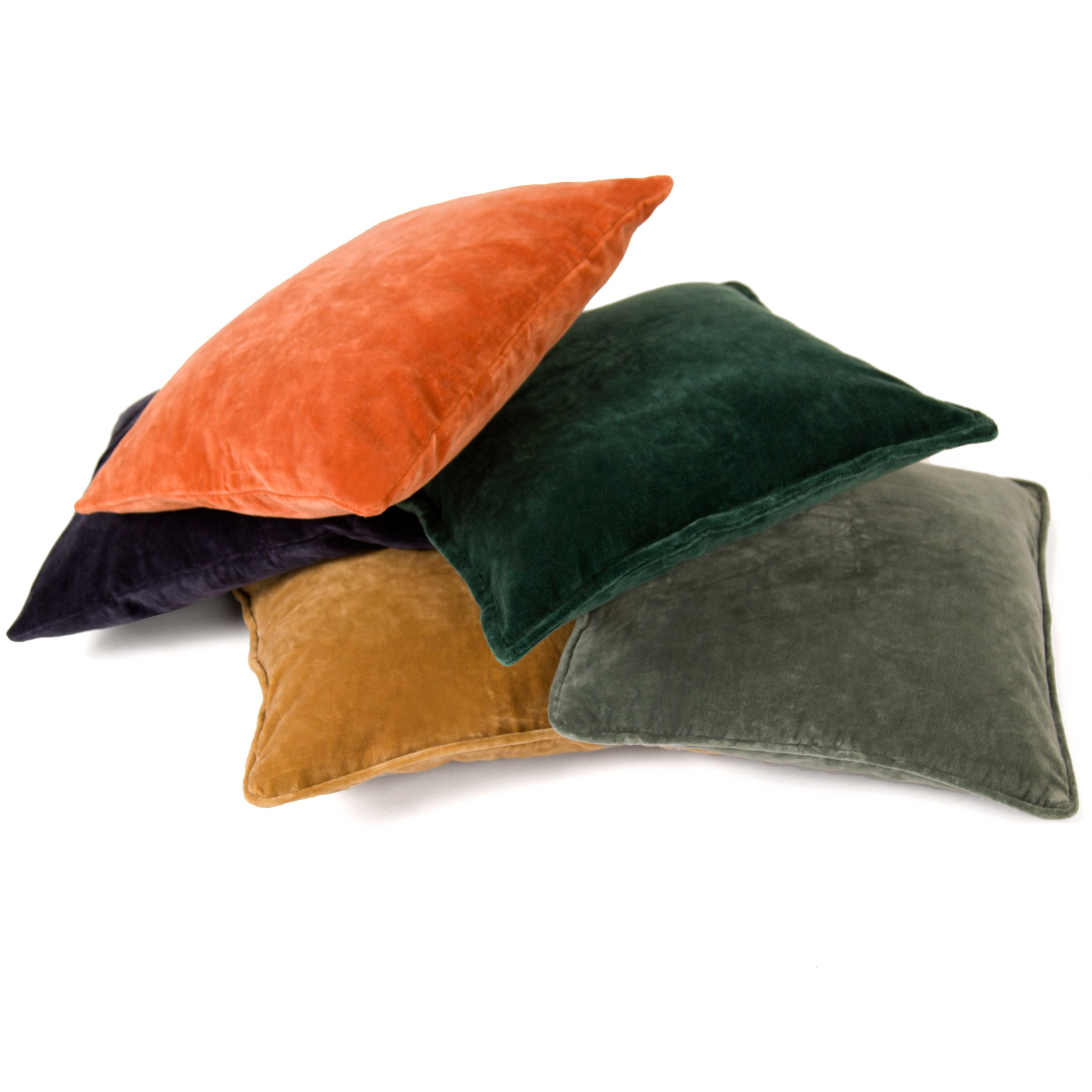 achat coussin carre orange velours