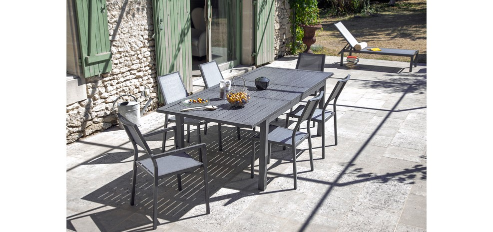 Table de jardin extensible 240 cm Mahana grise