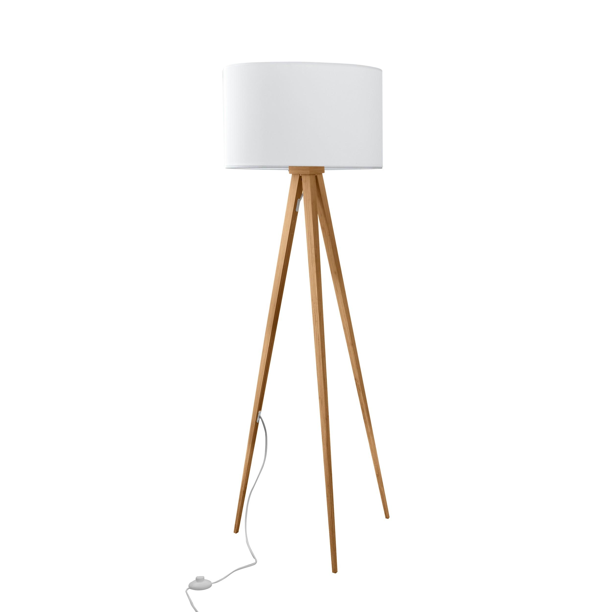 achat lampadaire trepied bois blanc