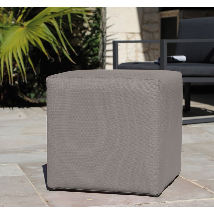 achat pouf carre taupe
