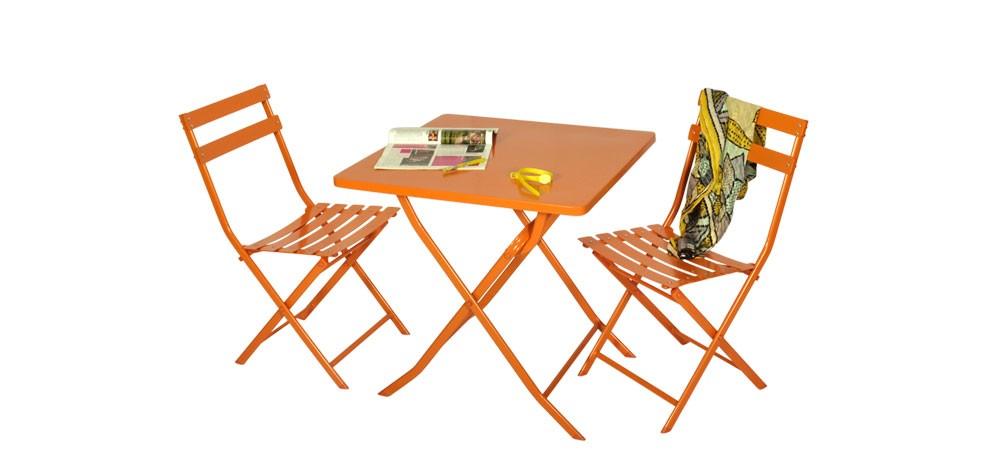 Table et 4 chaises Balcony oranges