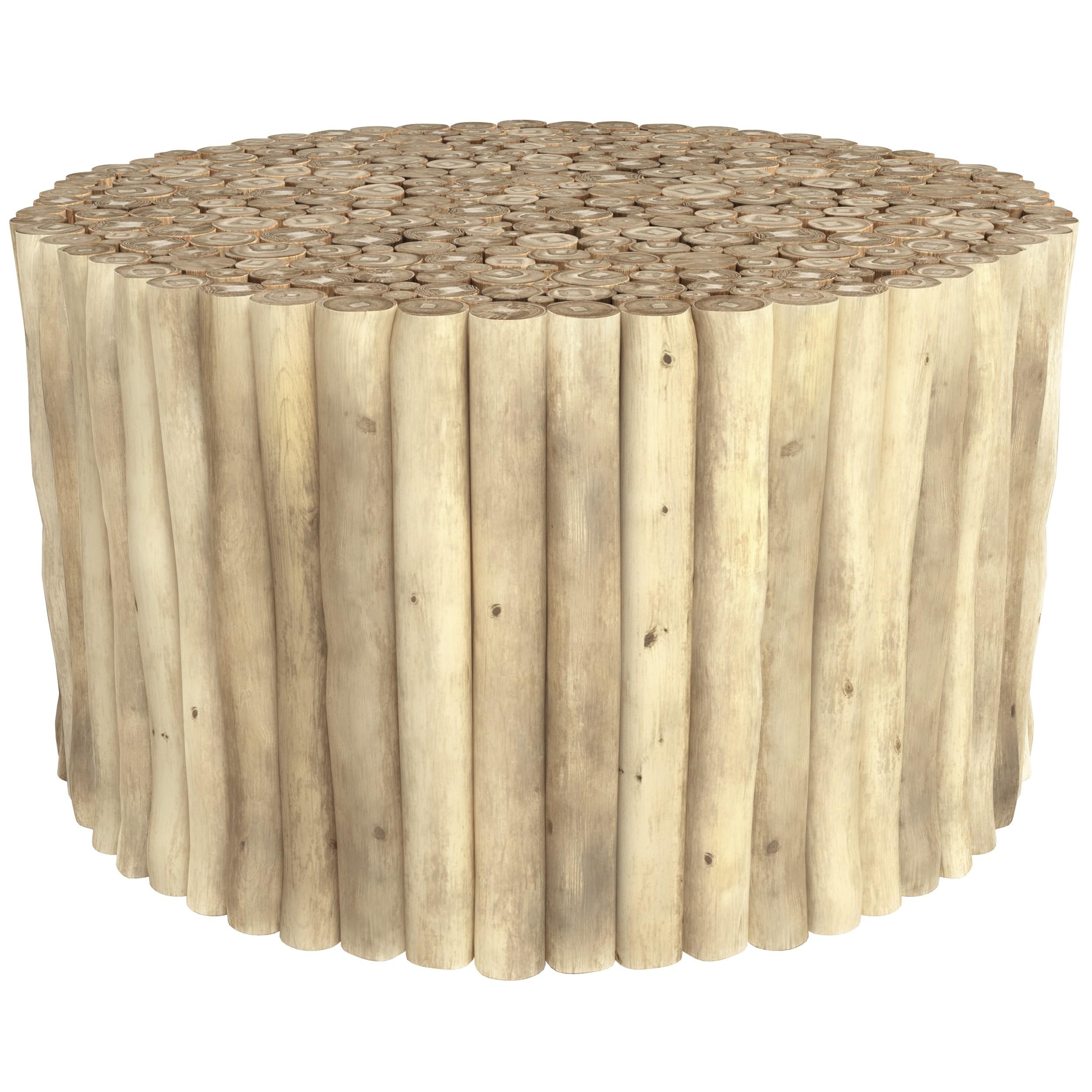 achat table basse branche de teck clair