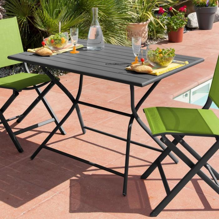 Table de jardin Globe pliante gris 110 cm