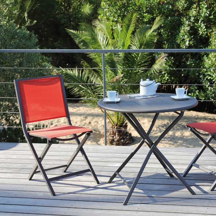 achat table ronde de jardin pliante marron cafe
