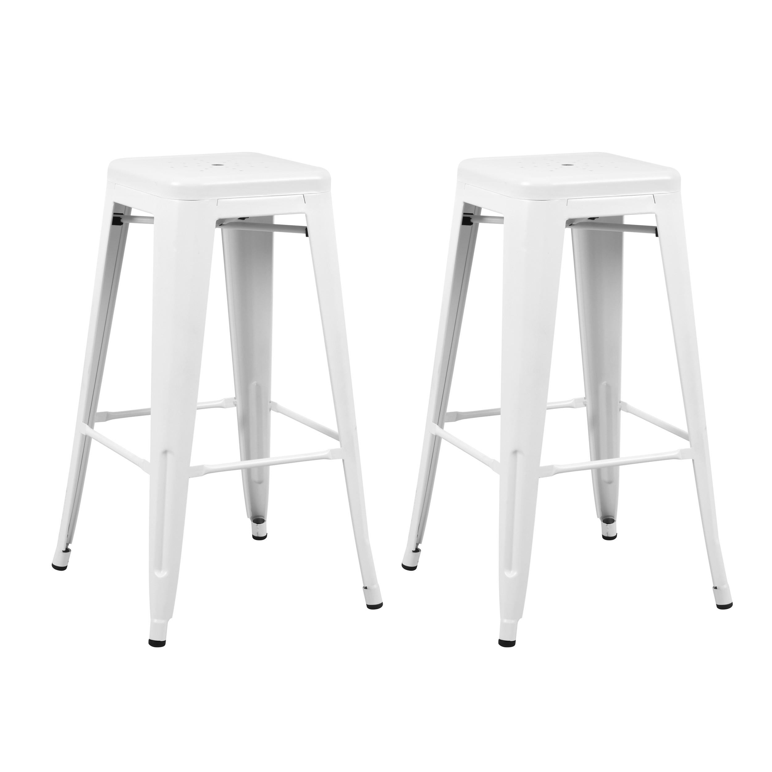 achat tabouret design blanc metal