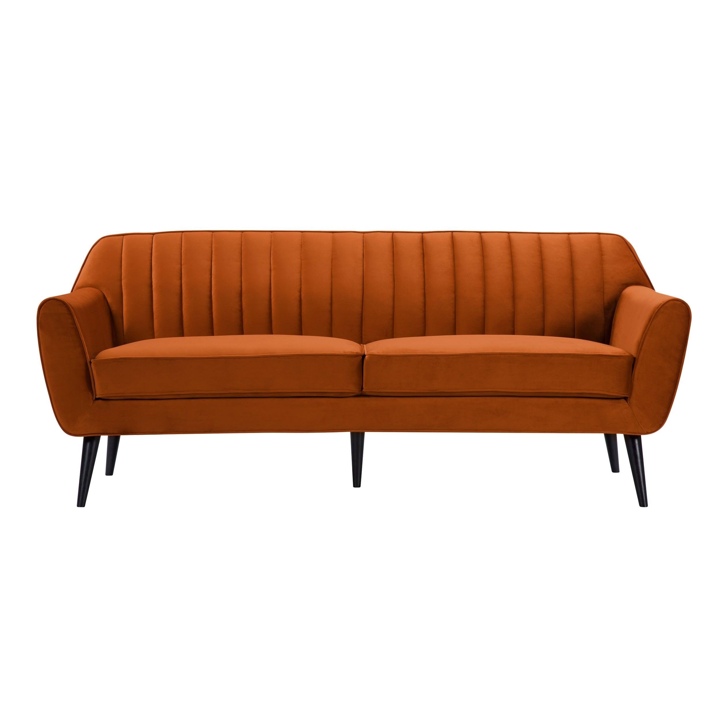 acheter canape 3 places en velours orange