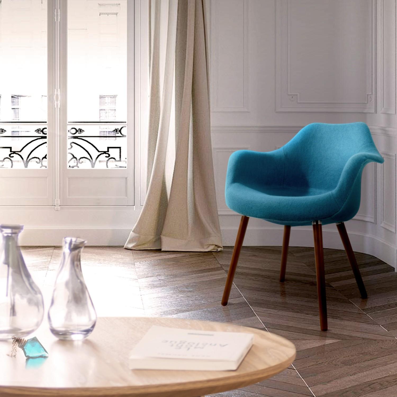 acheter chaise accoudoirs bleu tissu