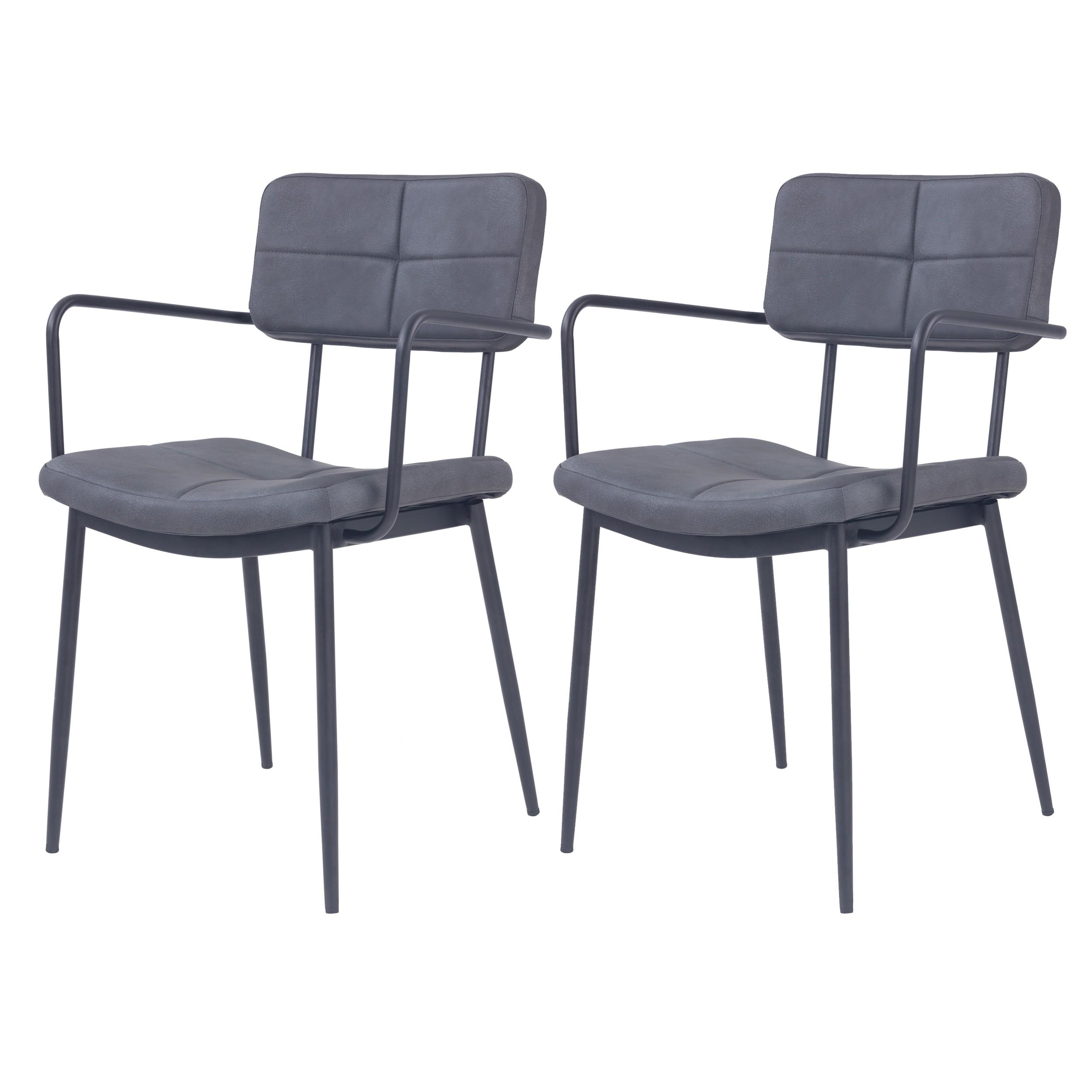 acheter chaise avec accoudoirs en cuir simili noir