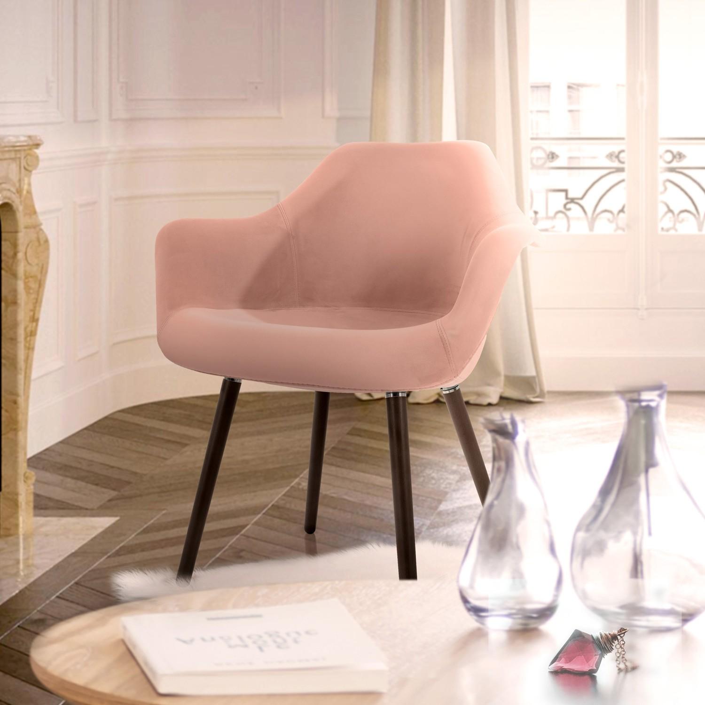 acheter chaise avec accoudoirs en velours rose