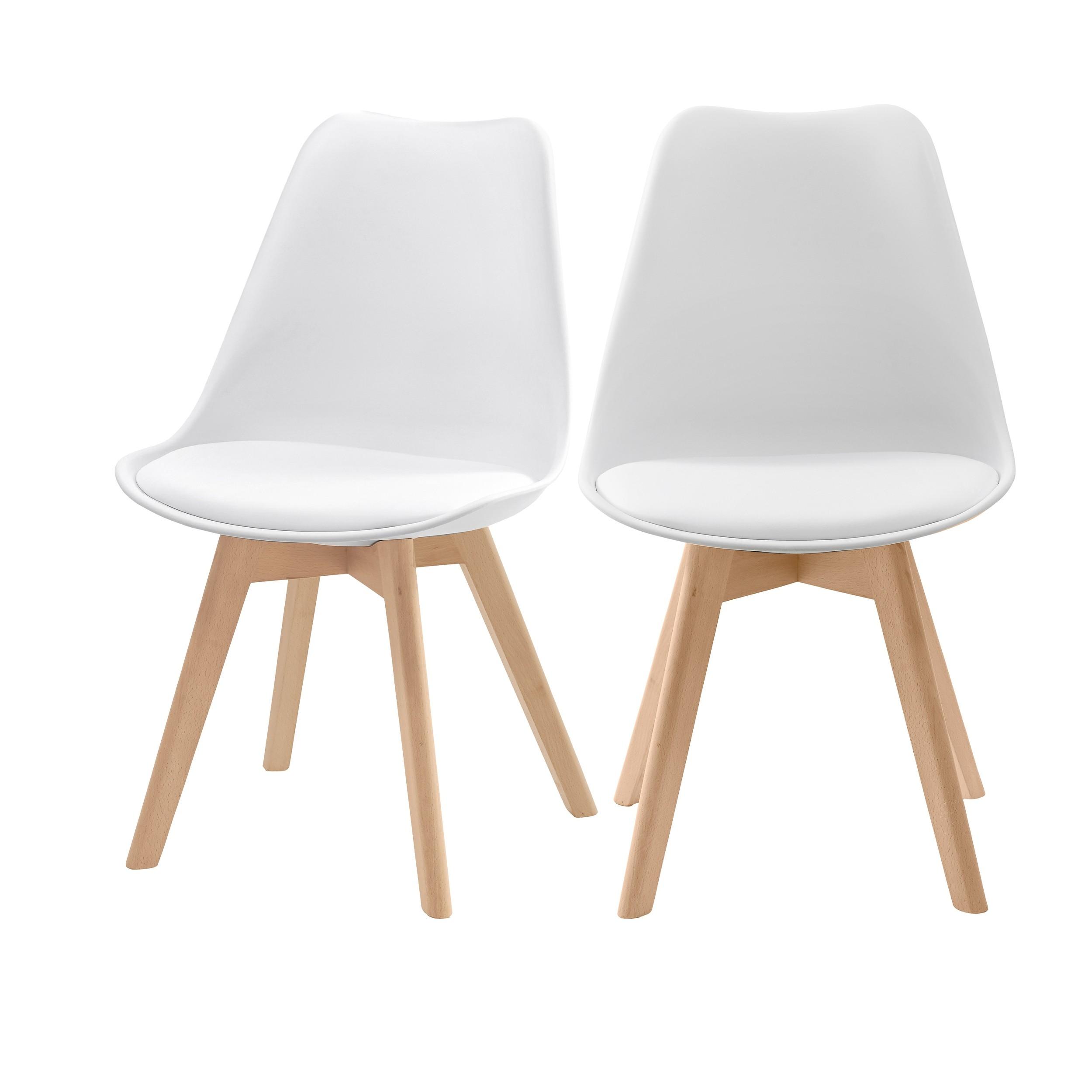 achat chaise skandi blanche lot de deux