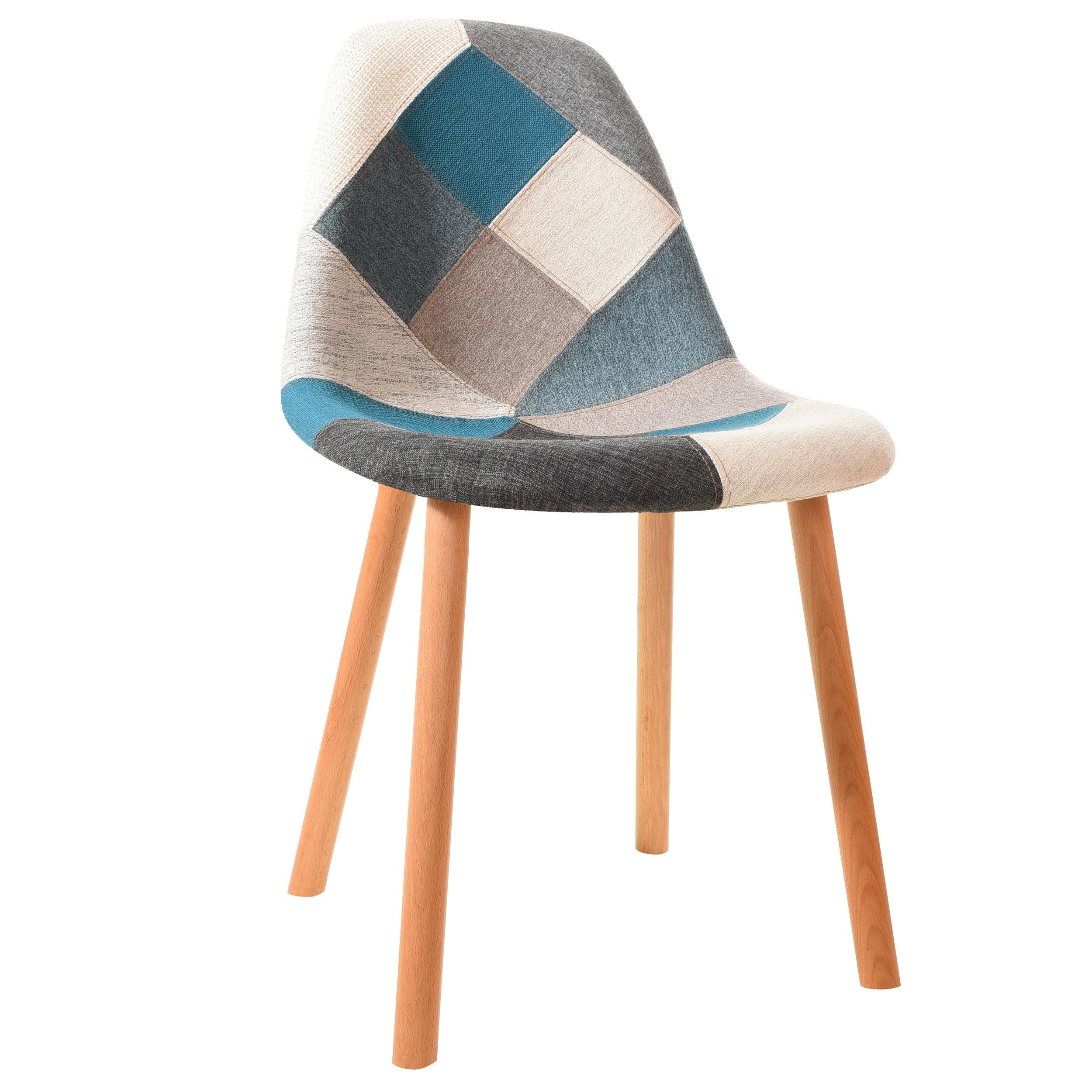 chaise arctik patchwork bleue lot de 2 adoptez nos chaises arctik patchwork bleues lot de 2. Black Bedroom Furniture Sets. Home Design Ideas