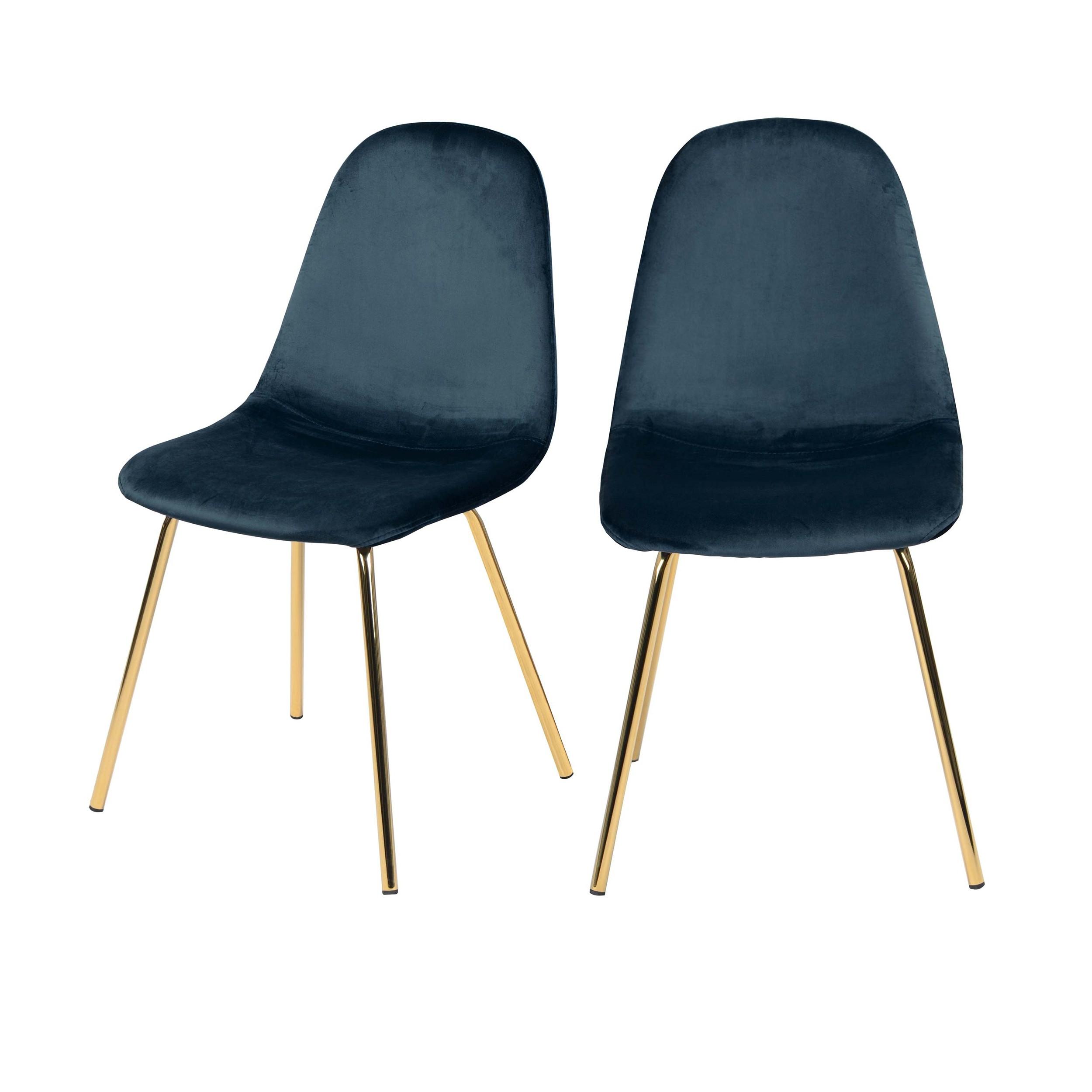 acheter chaise bleu velours pieds dores lot de 2