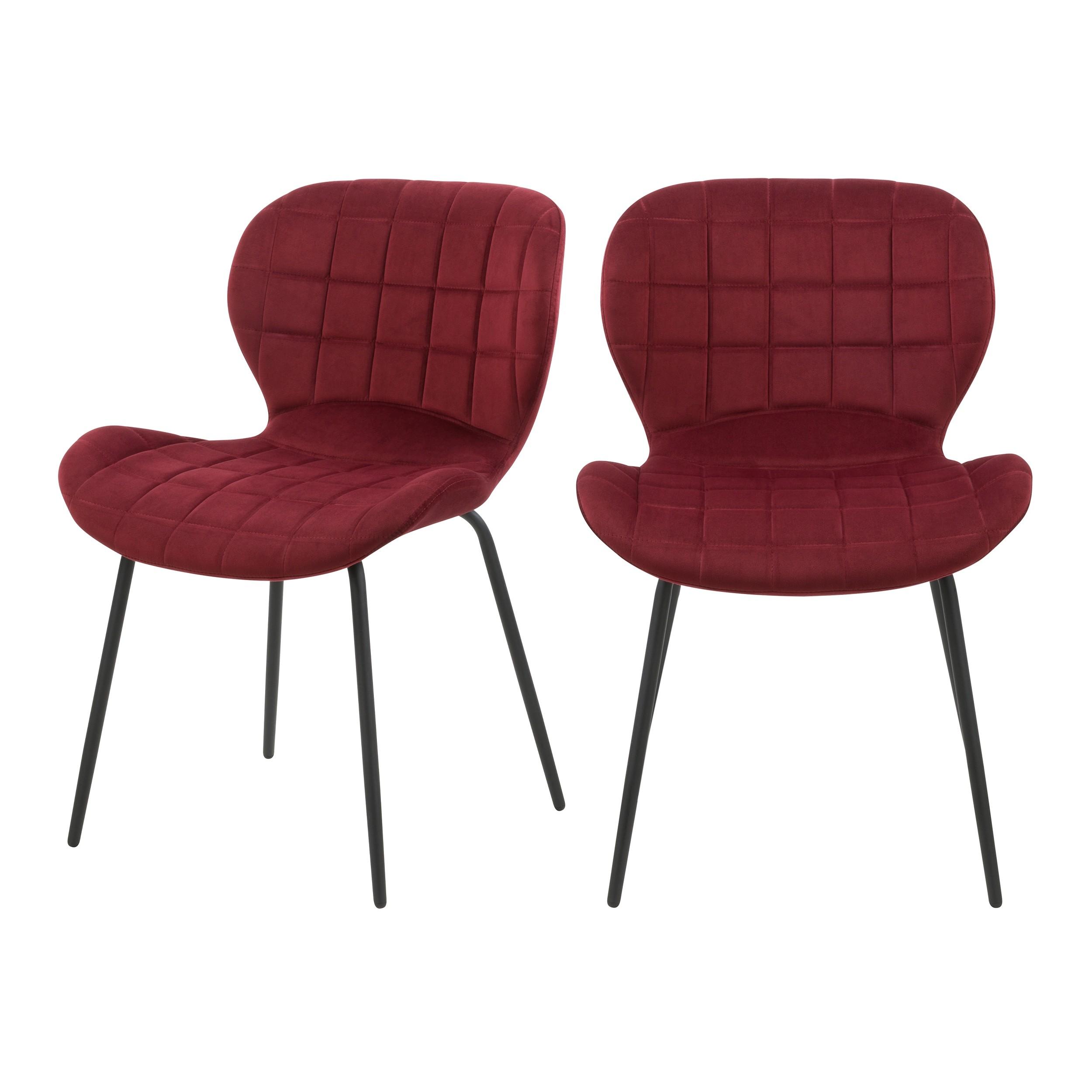 acheter chaise bordeaux en velours lot de 2