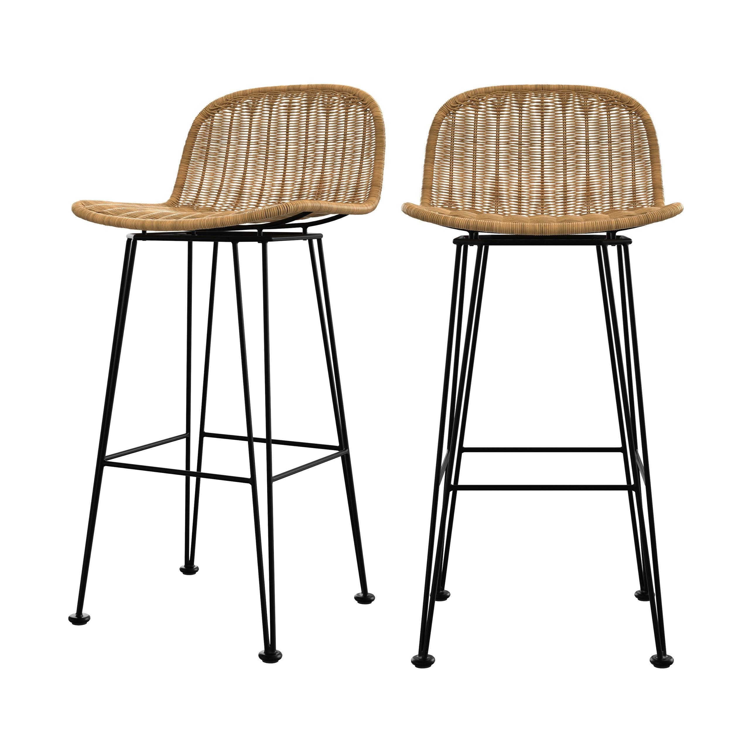 acheter chaise de bar assise tressee lot de 2