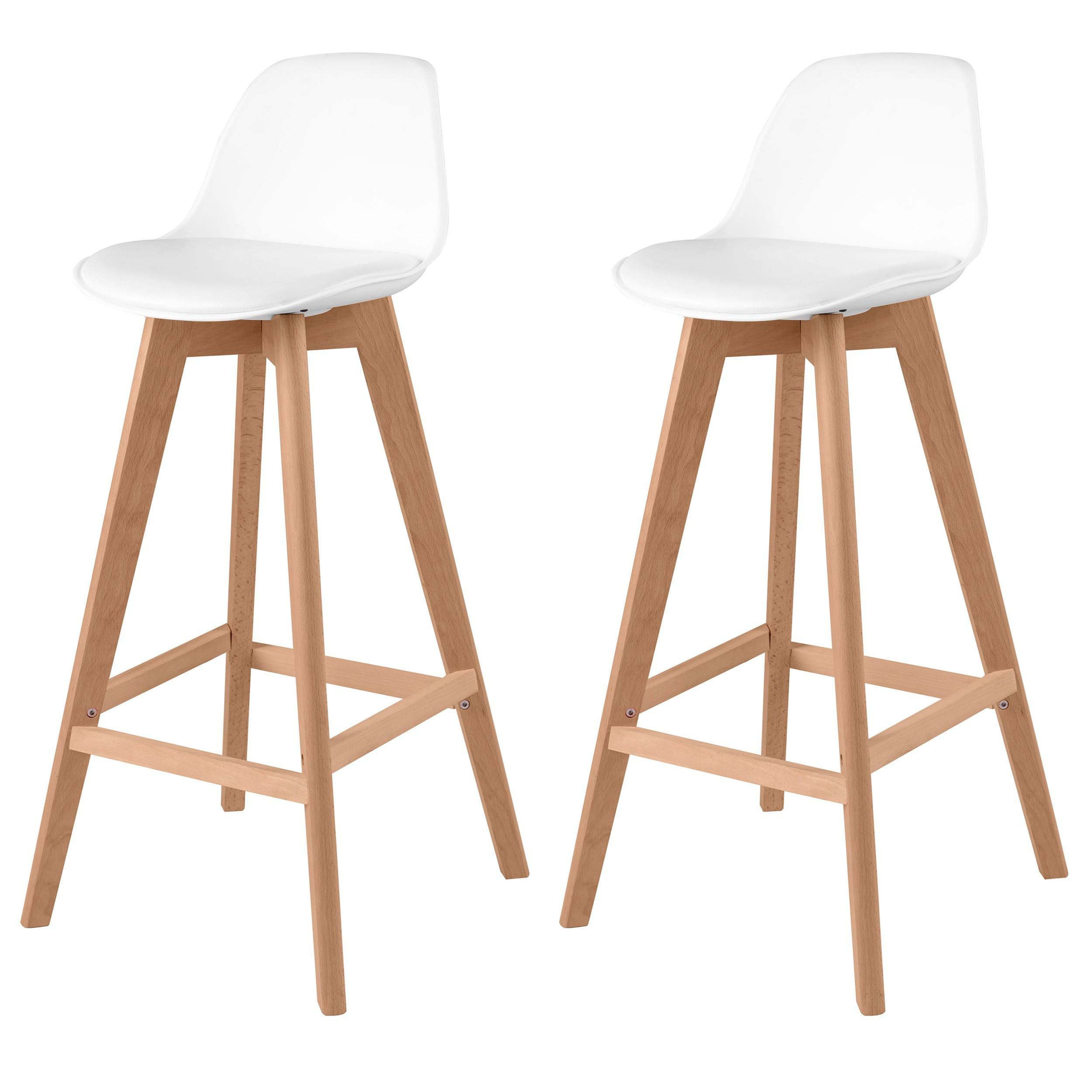chaise de bar skandi blanche lot de 2 adoptez un lot. Black Bedroom Furniture Sets. Home Design Ideas