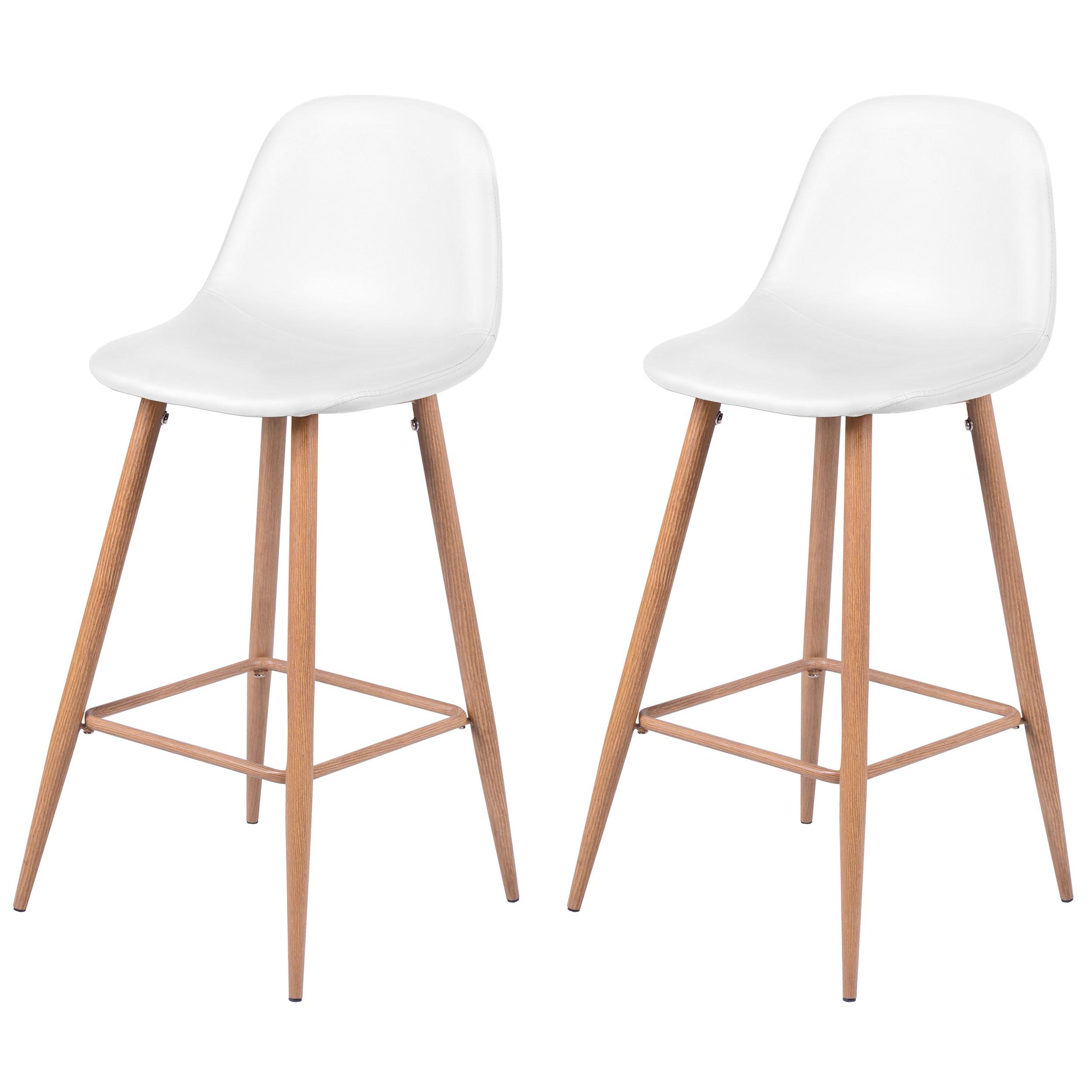 chaise de bar rodrik blanche lot de 2 adoptez nos. Black Bedroom Furniture Sets. Home Design Ideas