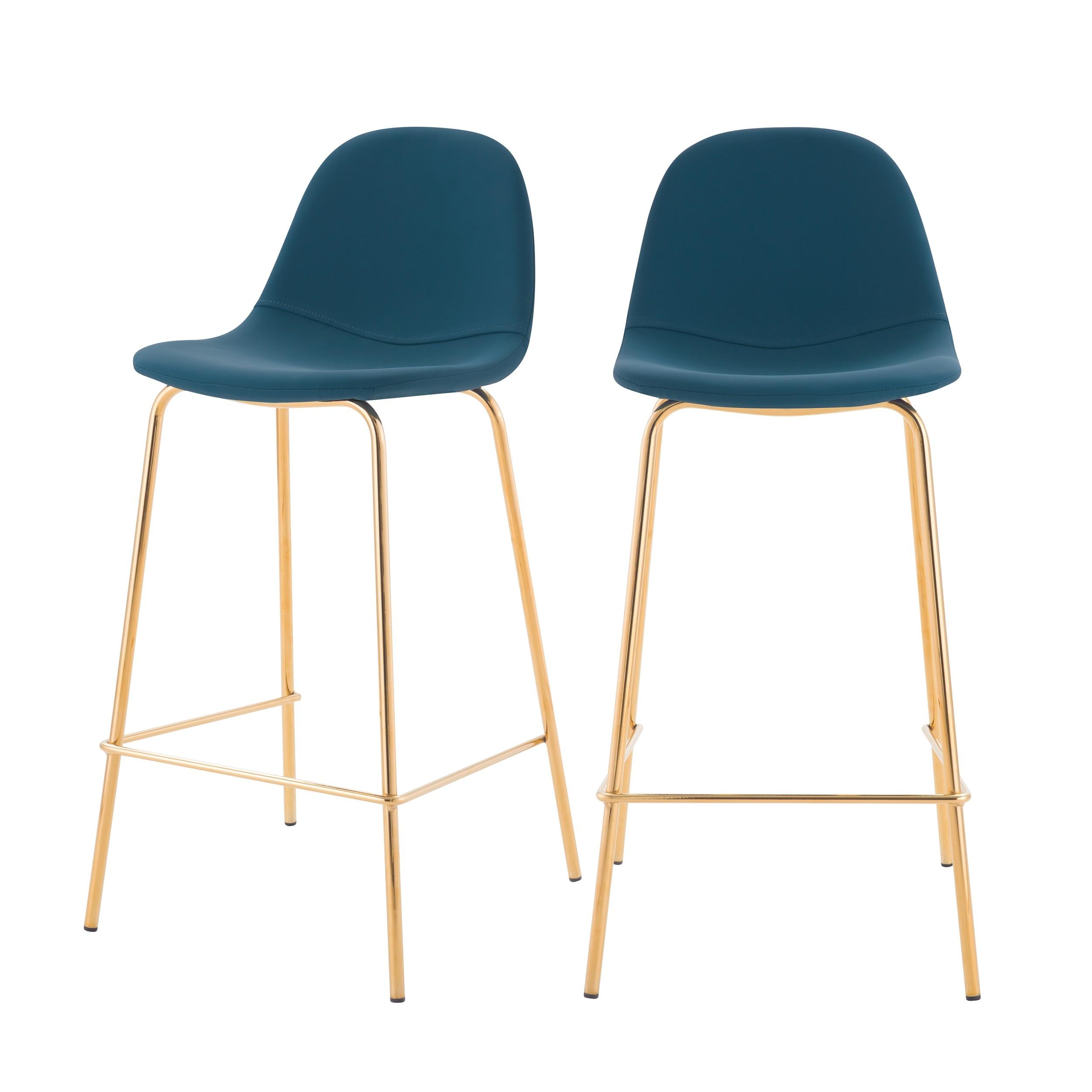 acheter chaise de bar en cuir synthetique bleue