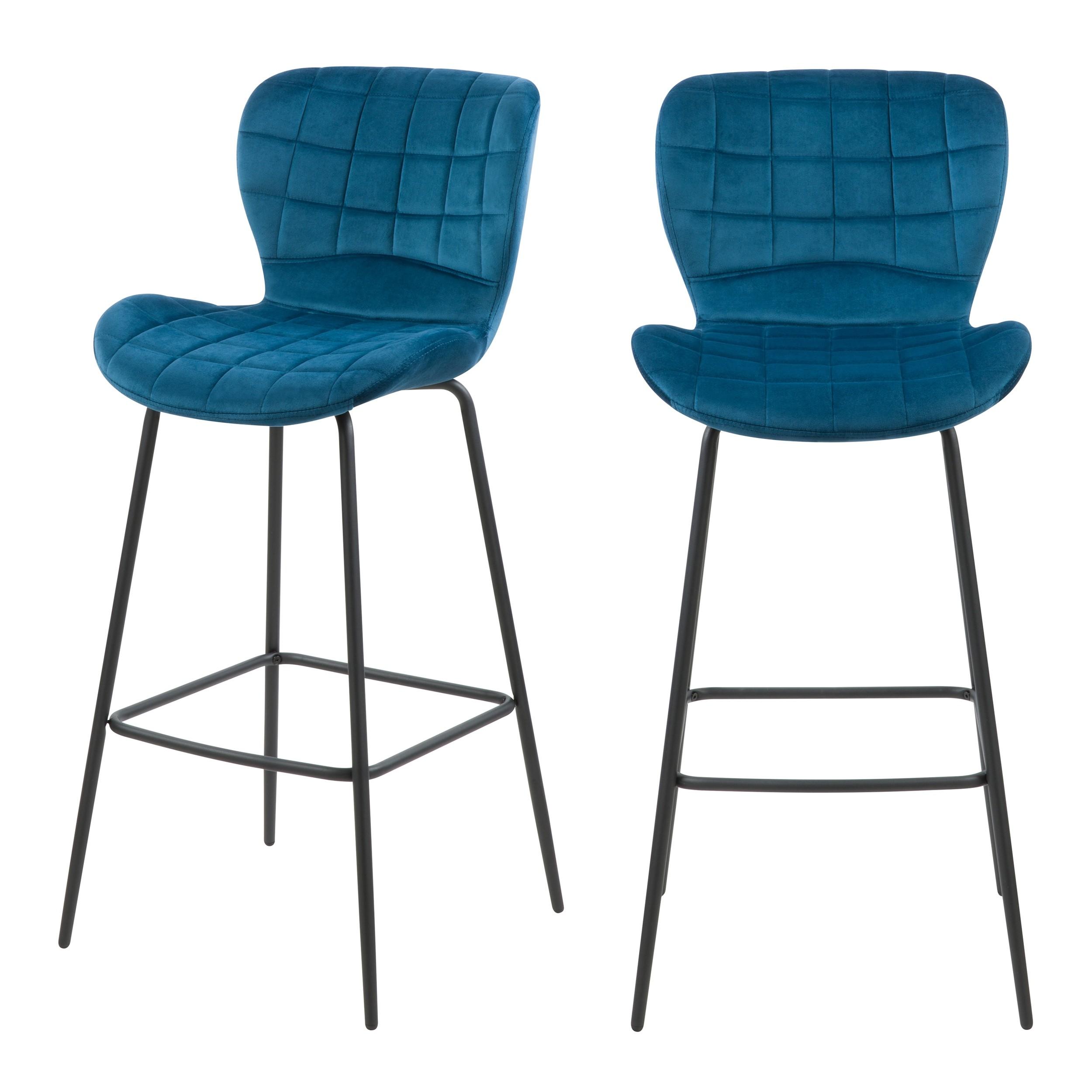 acheter chaise de bar en velours bleu lot de 2
