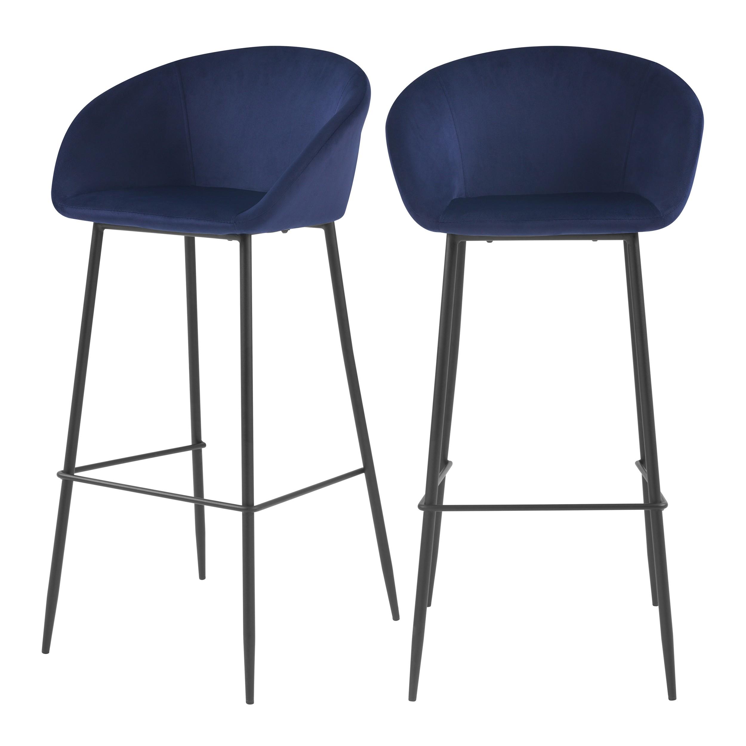 acheter chaise de bar en velours bleue pieds metal lot de 2