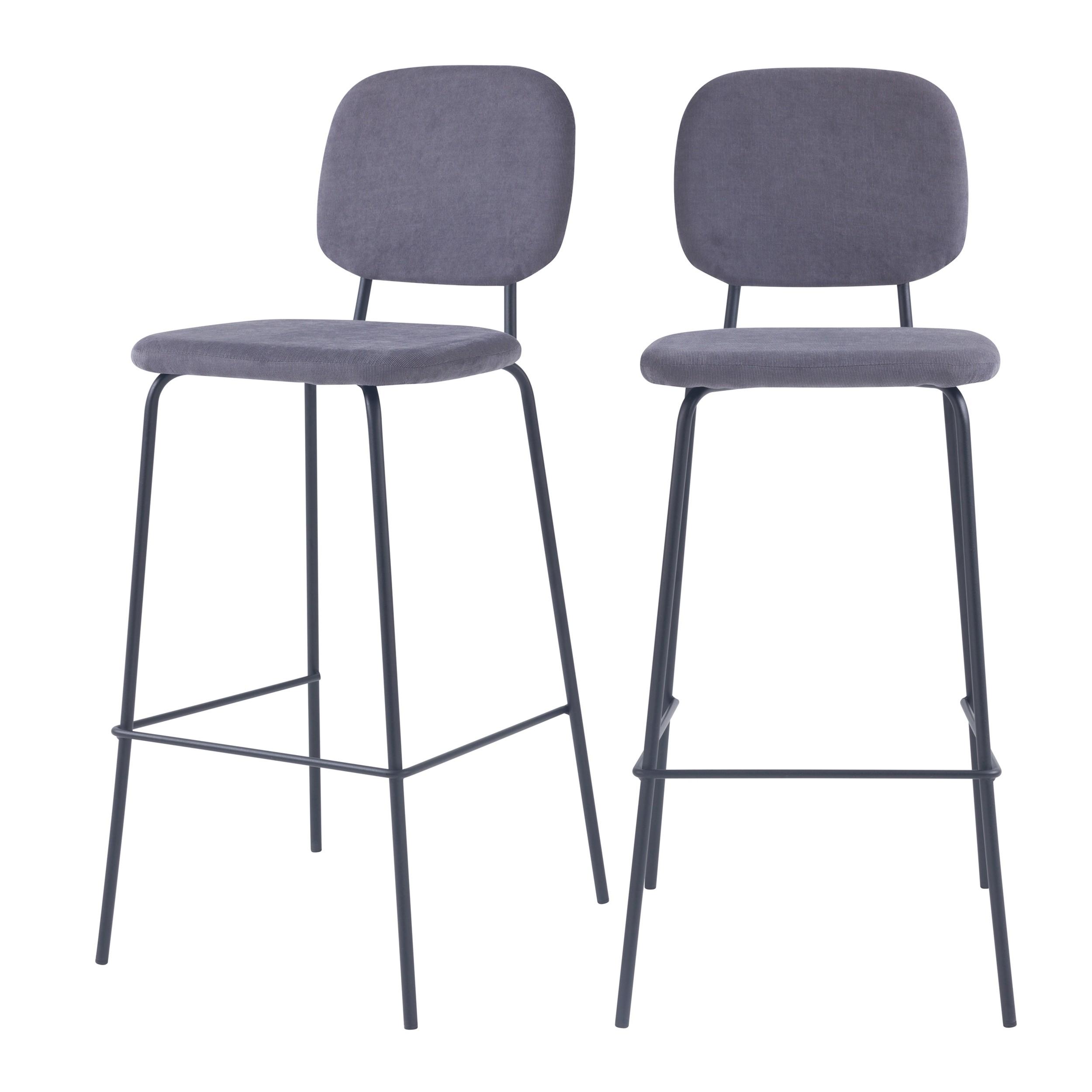 acheter chaise de bar en velours cotele gris