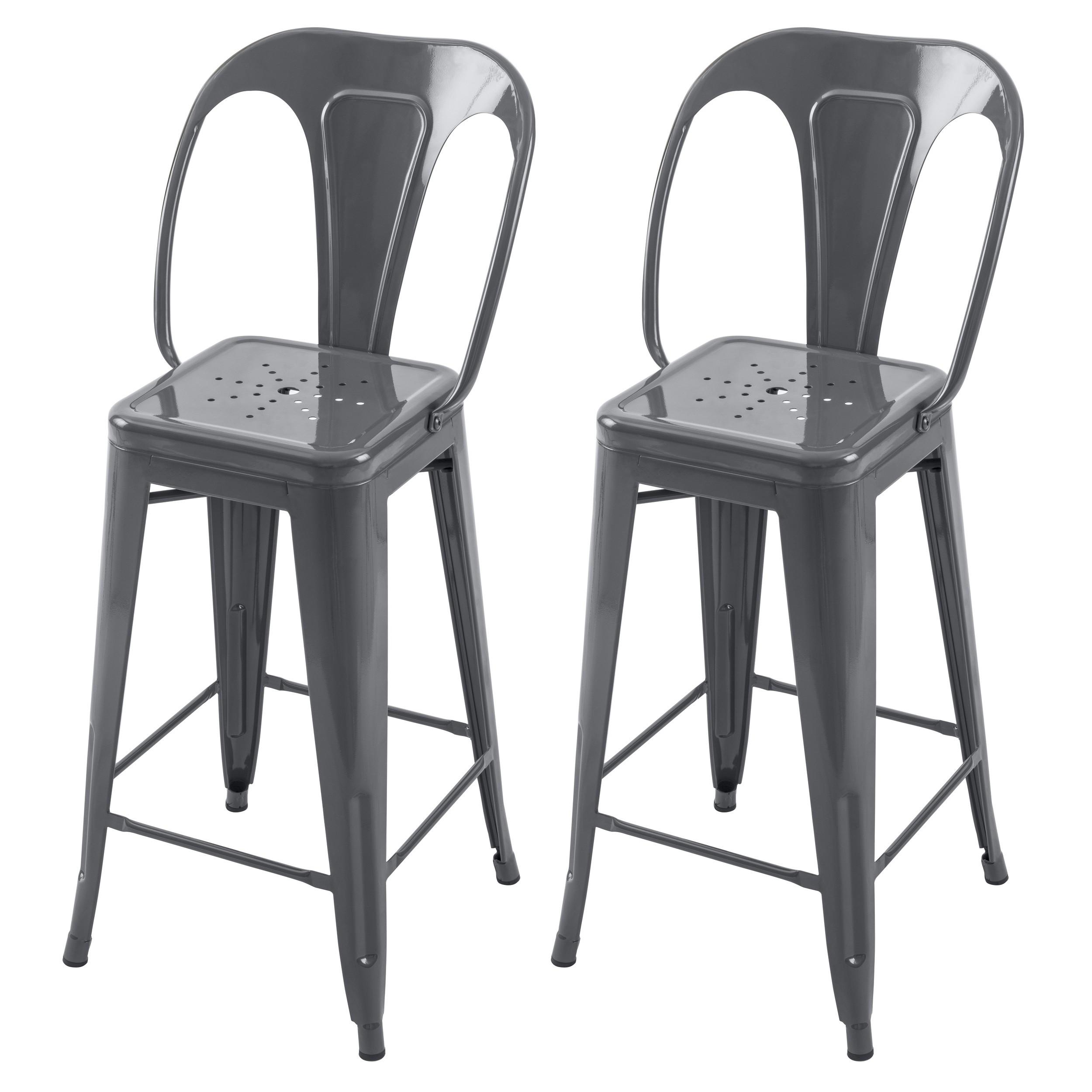 acheter chaise de bar gris brillant