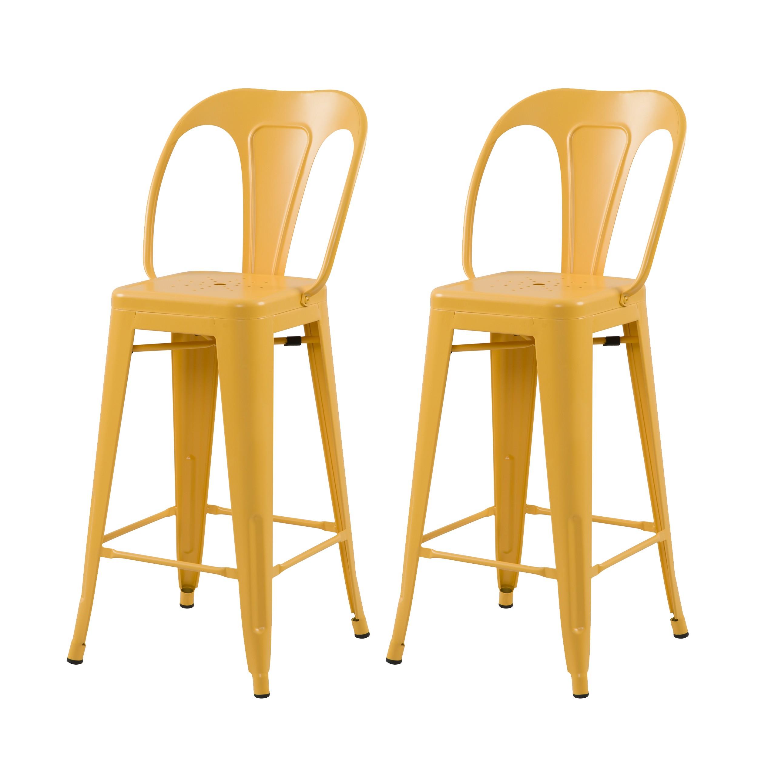 Chaise de bar mi hauteur Indus jaune mat 66 cm (lot de 2)
