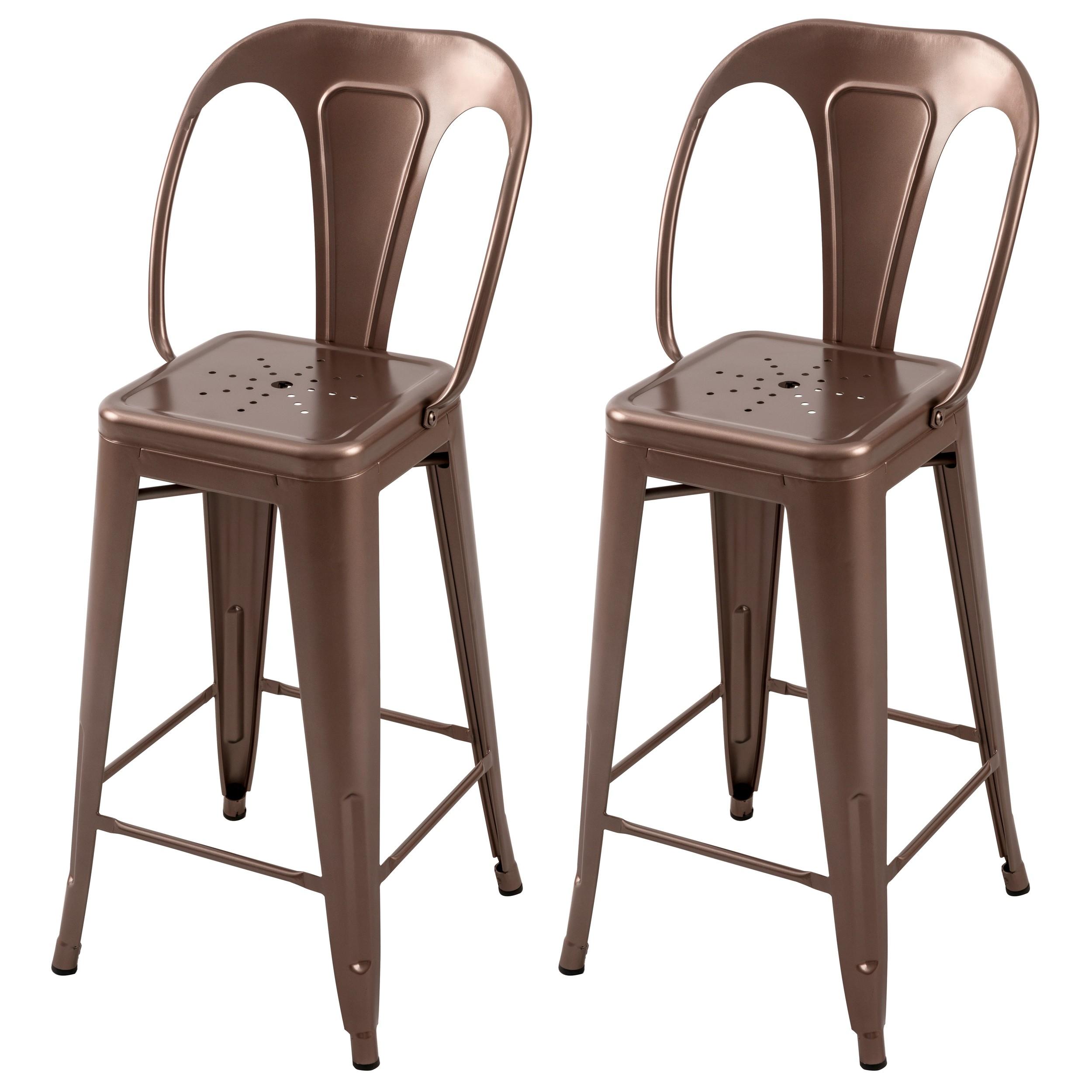 acheter chaise de bar lot de 2 cuivre