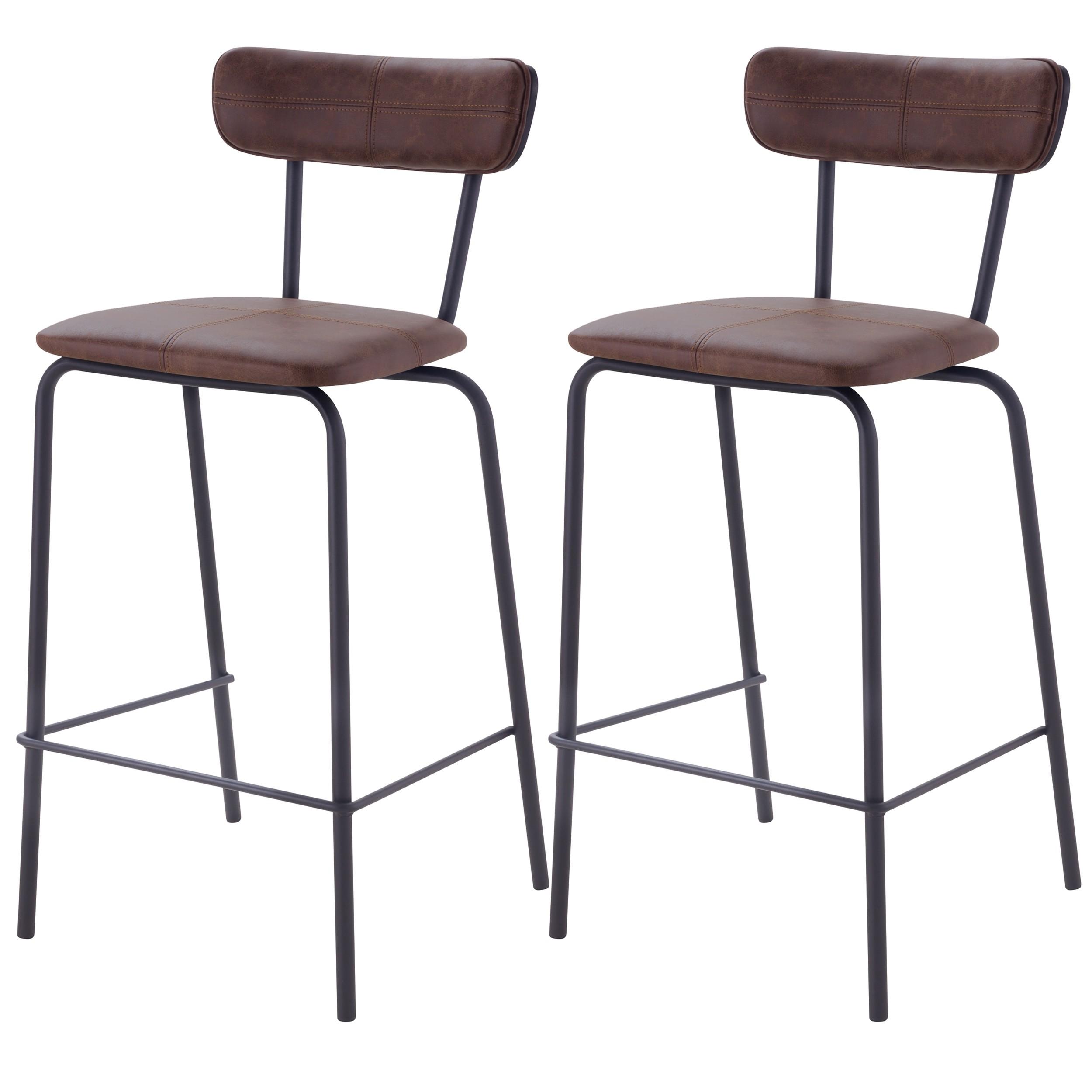 acheter chaise de bar marron fonce cuir synthetique