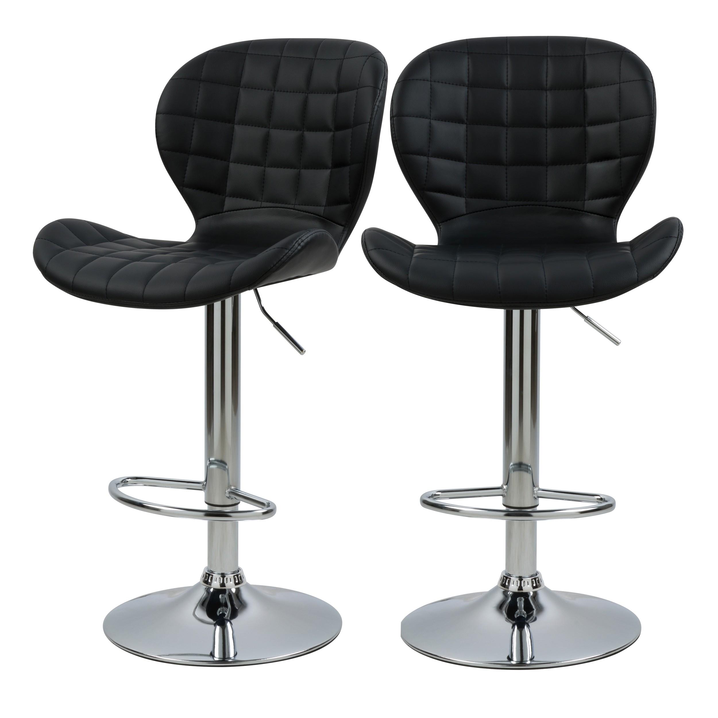 acheter chaise de bar noire en cuir synthetique lot de 2