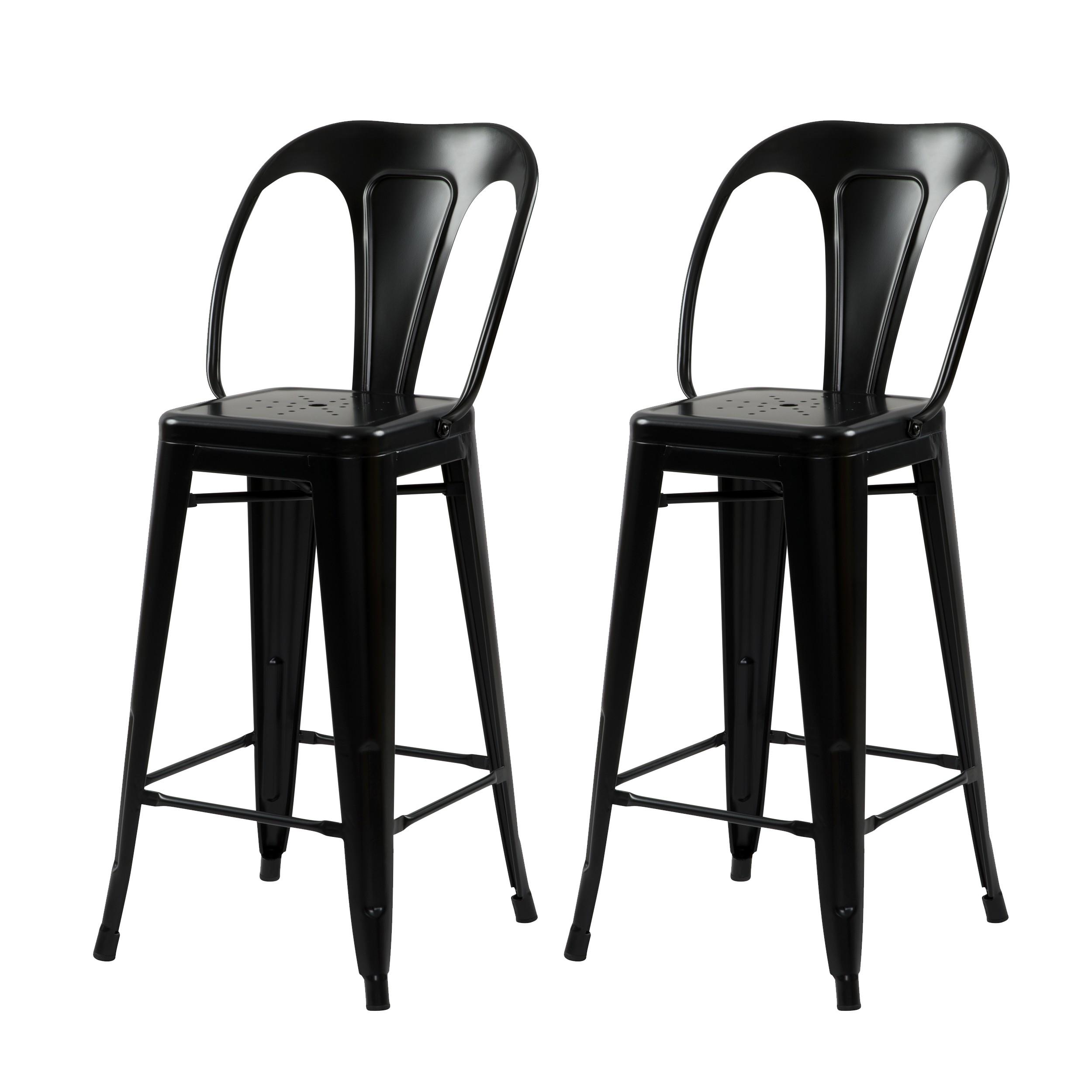 Chaise de bar mi hauteur Indus noir mat 66 cm (lot de 2)