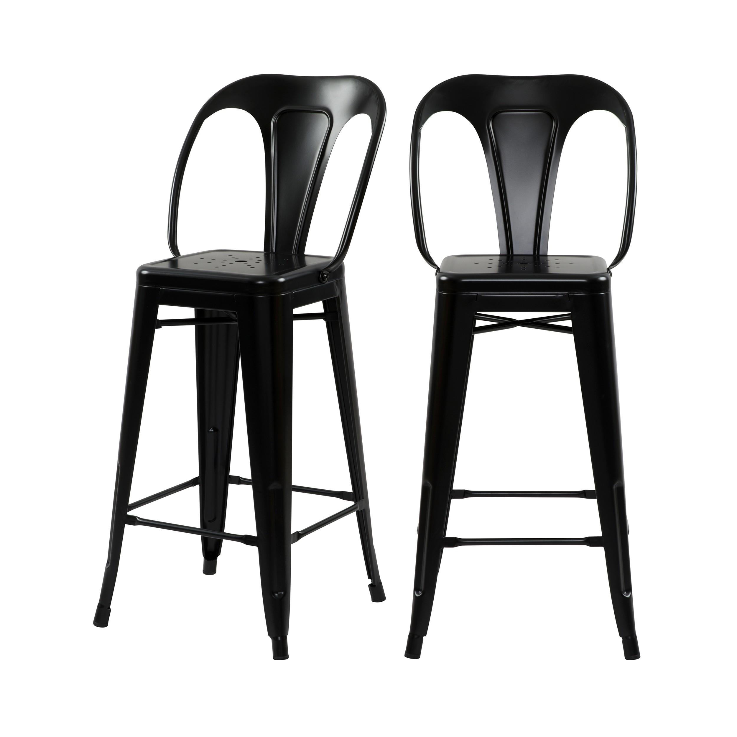 acheter chaise de bar noire indus en metal lot de 2