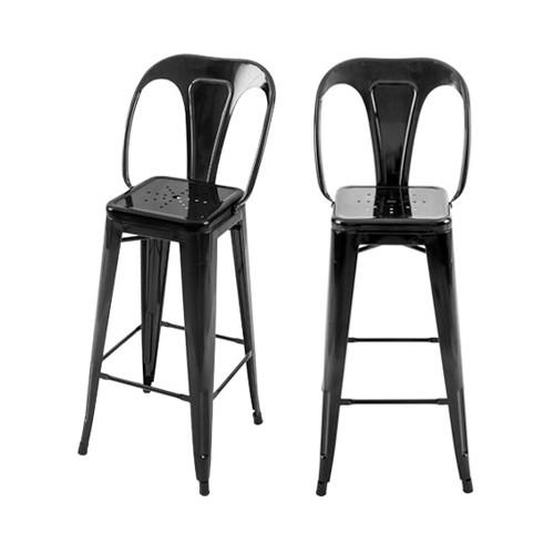 achat chaise de bar industrielle noire