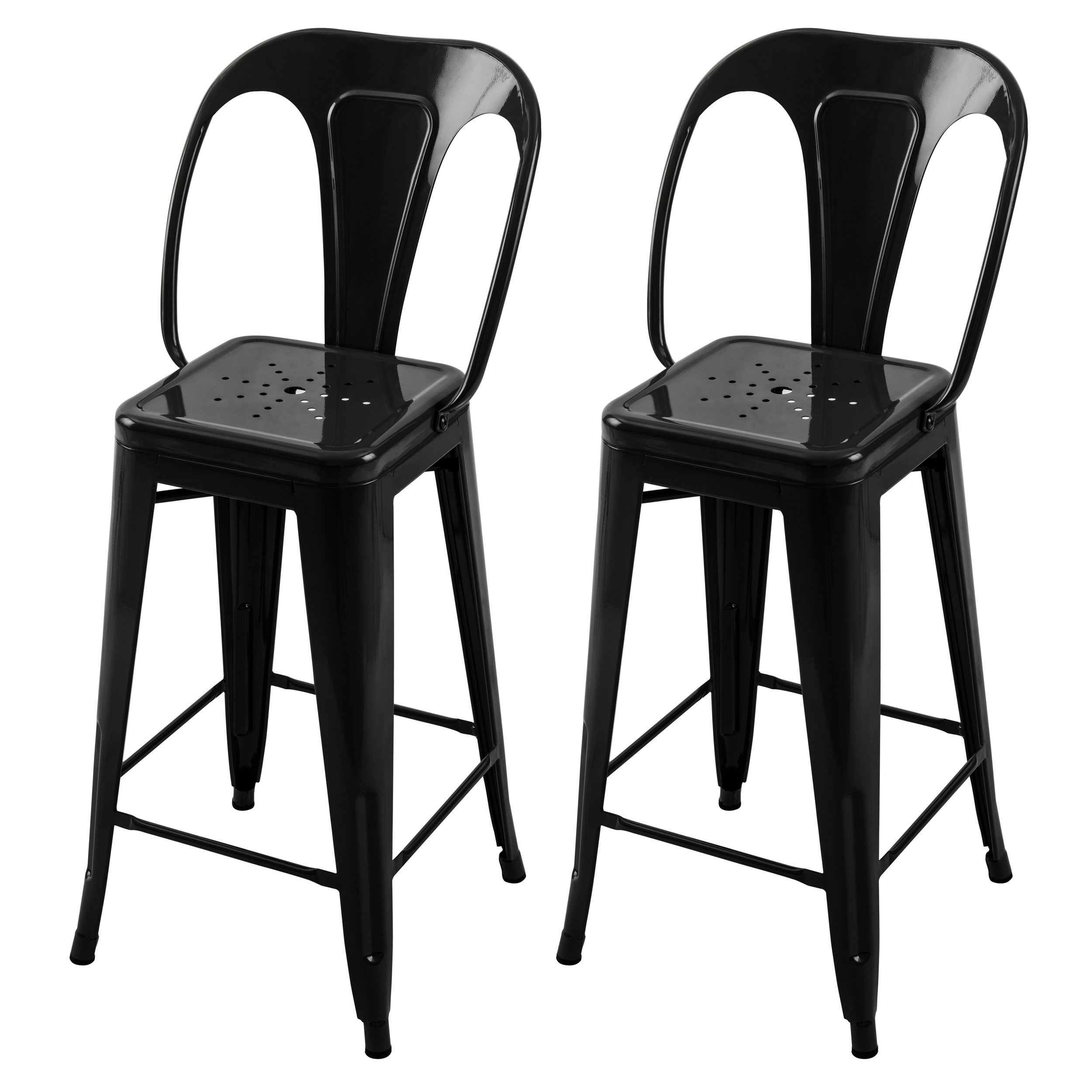 chaise de bar indus noir 66 cm lot de 2 d couvrez les. Black Bedroom Furniture Sets. Home Design Ideas