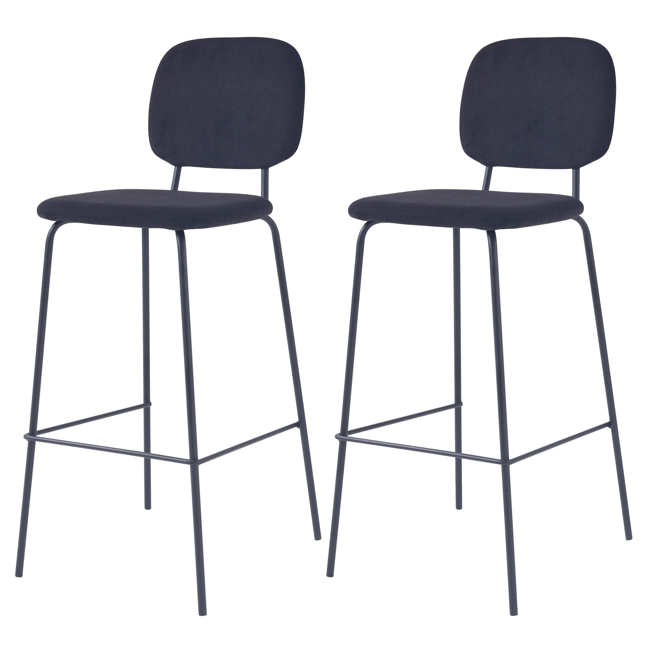 acheter chaise de bar noires en velours cotele