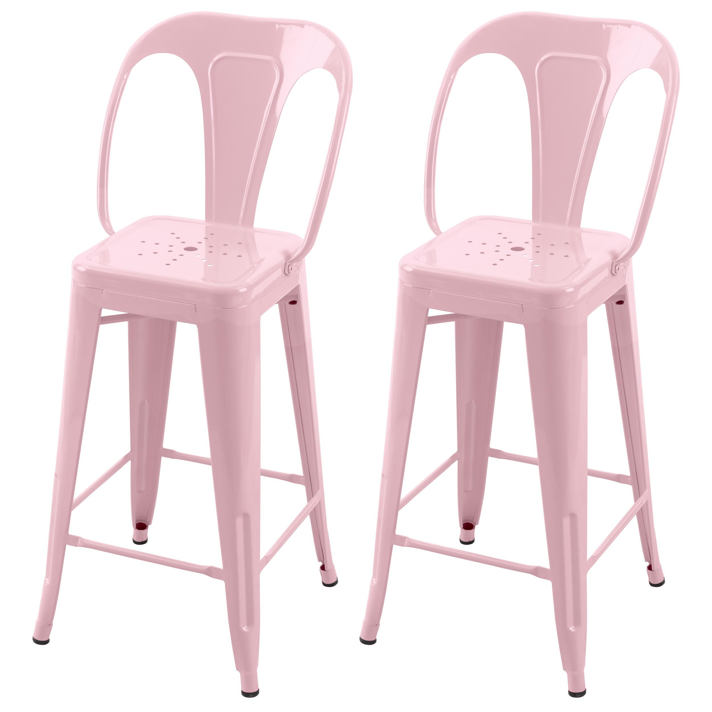 acheter chaise de bar rose metal