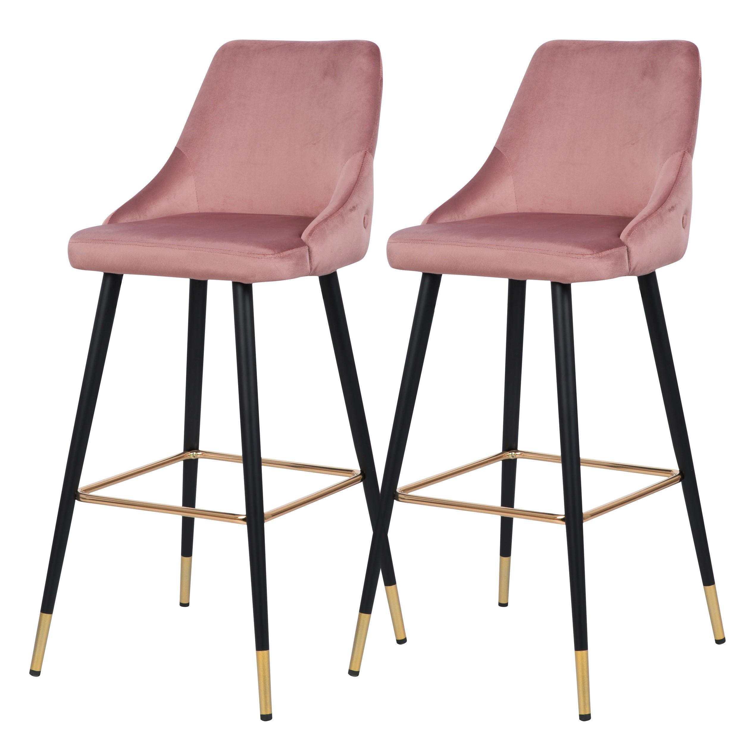 acheter chaise de bar rose velours metal