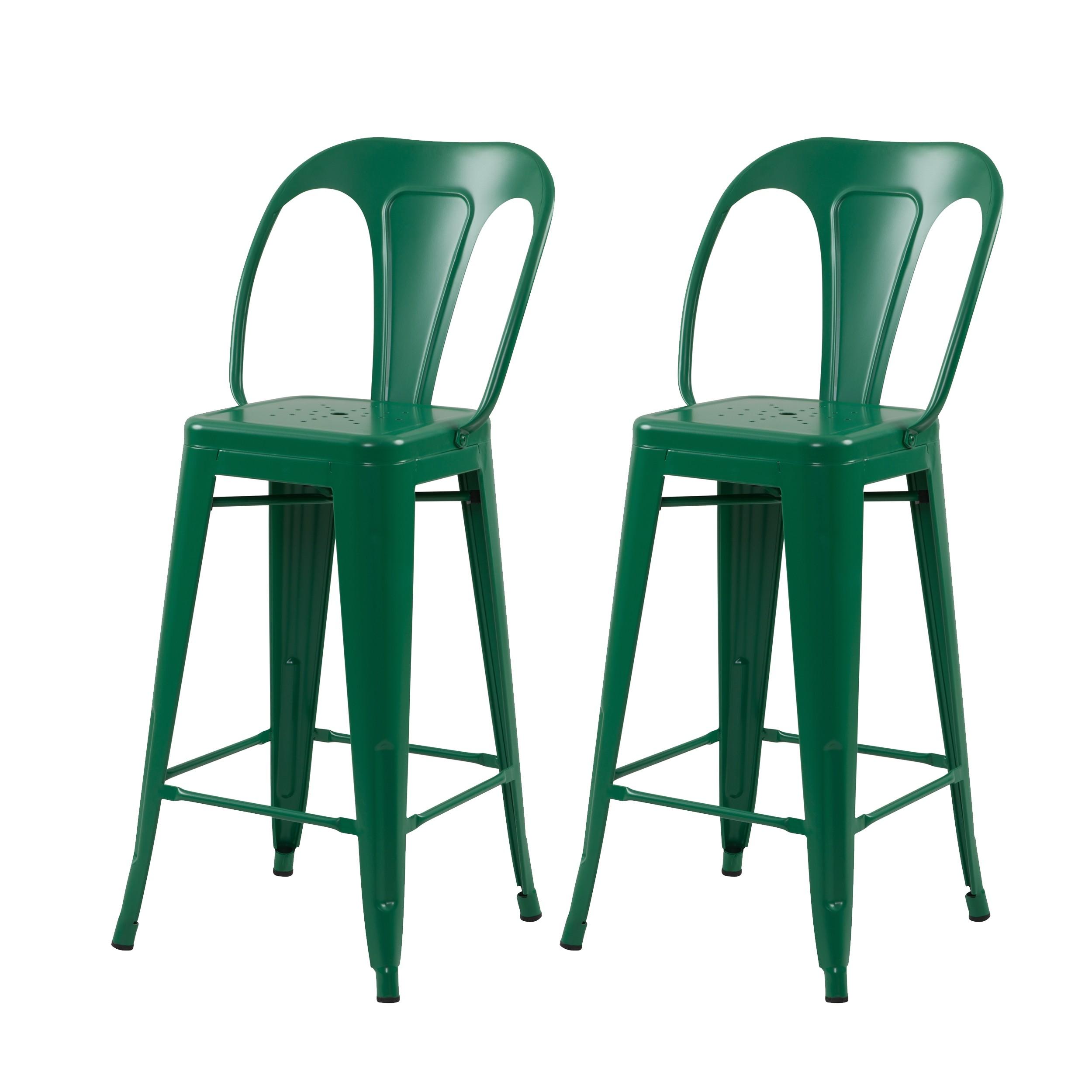 acheter chaise de bar vertes lot de 2