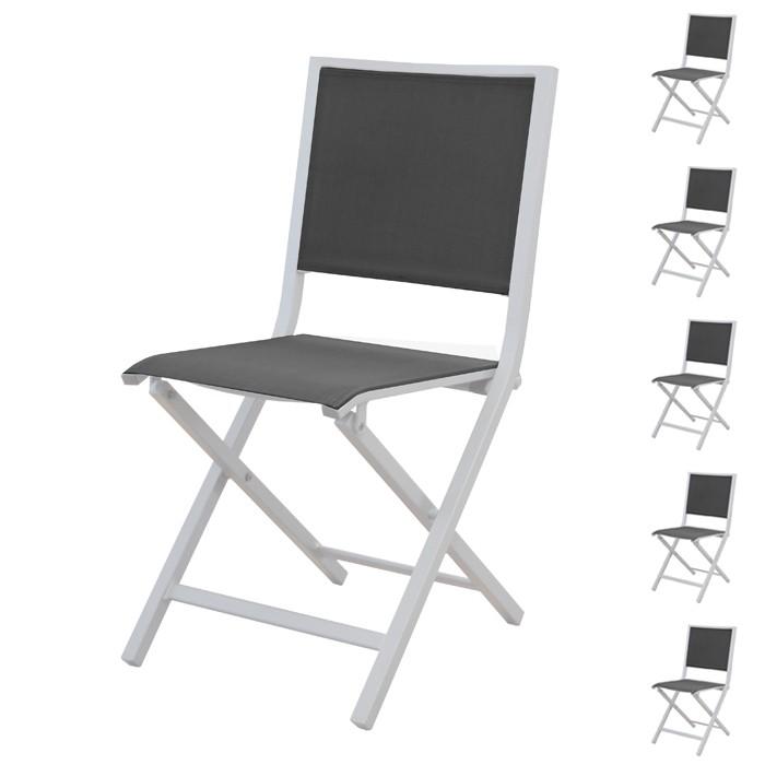 acheter chaise de jardin grise et blanche