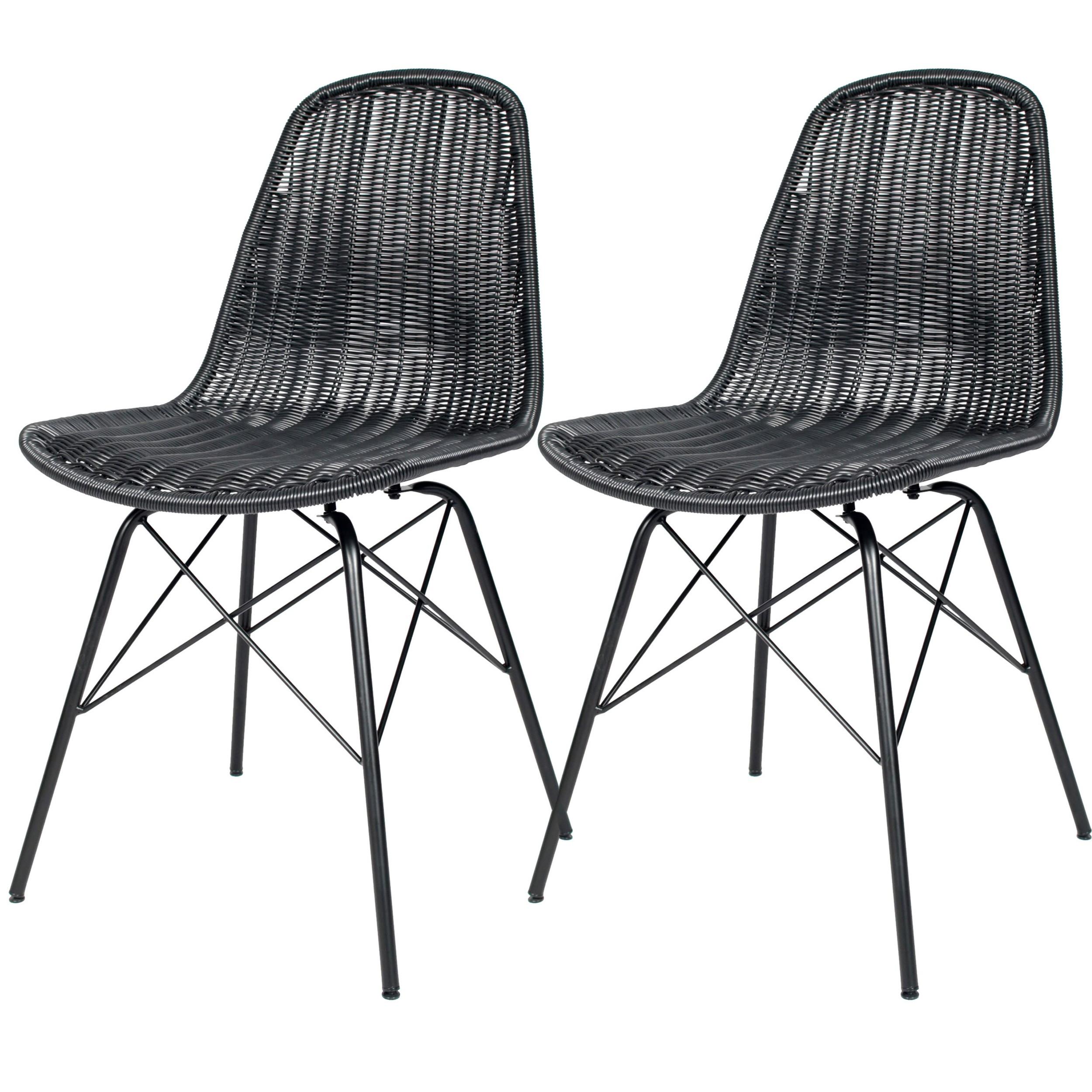 chaise tiptur en r sine tress e noire lot de 2. Black Bedroom Furniture Sets. Home Design Ideas
