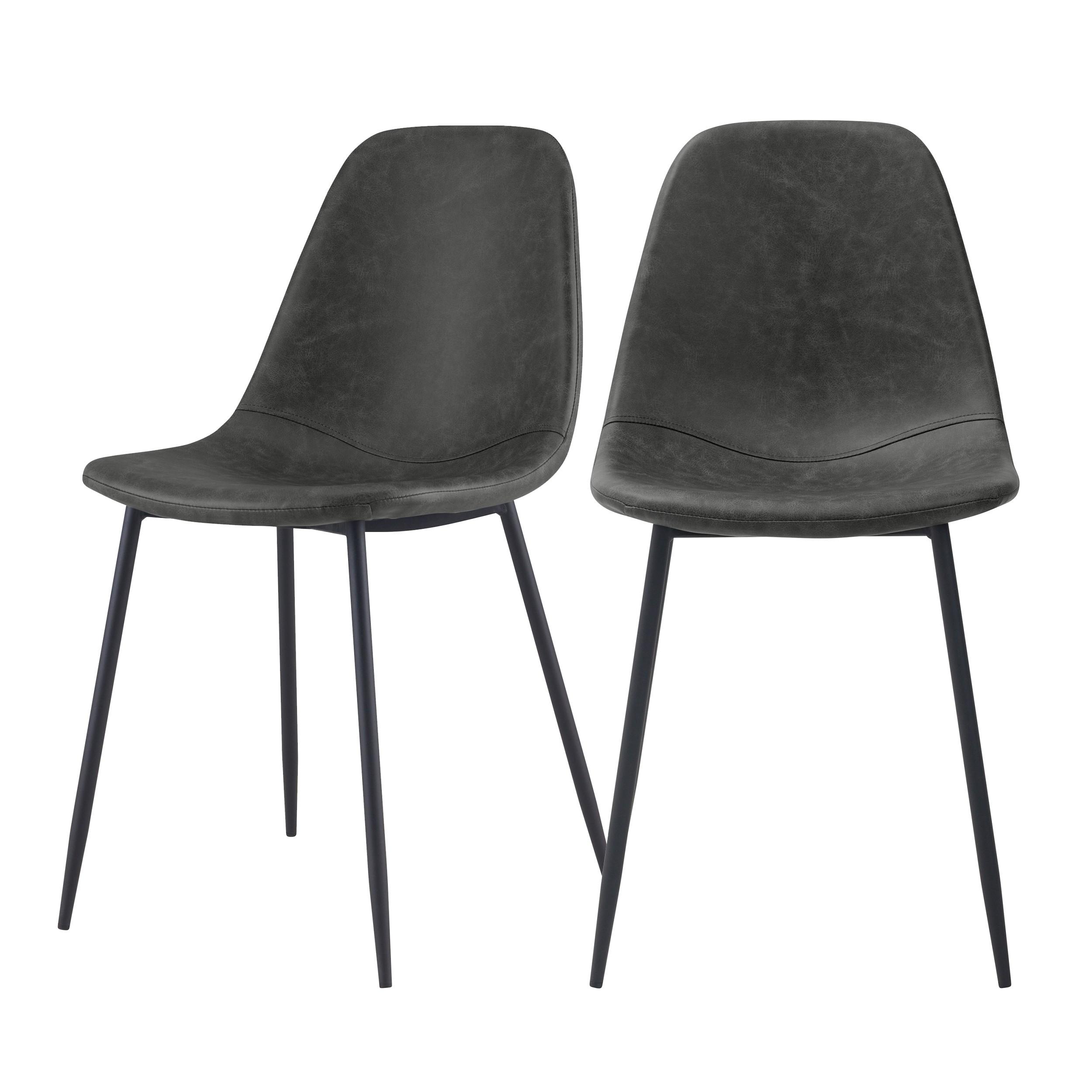 acheter chaise en simili cuir noir lot de 2