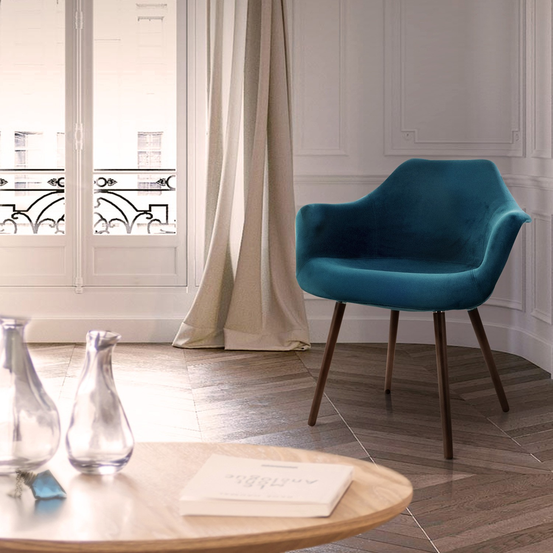 chaise anssen en velours bleu canard commandez les. Black Bedroom Furniture Sets. Home Design Ideas