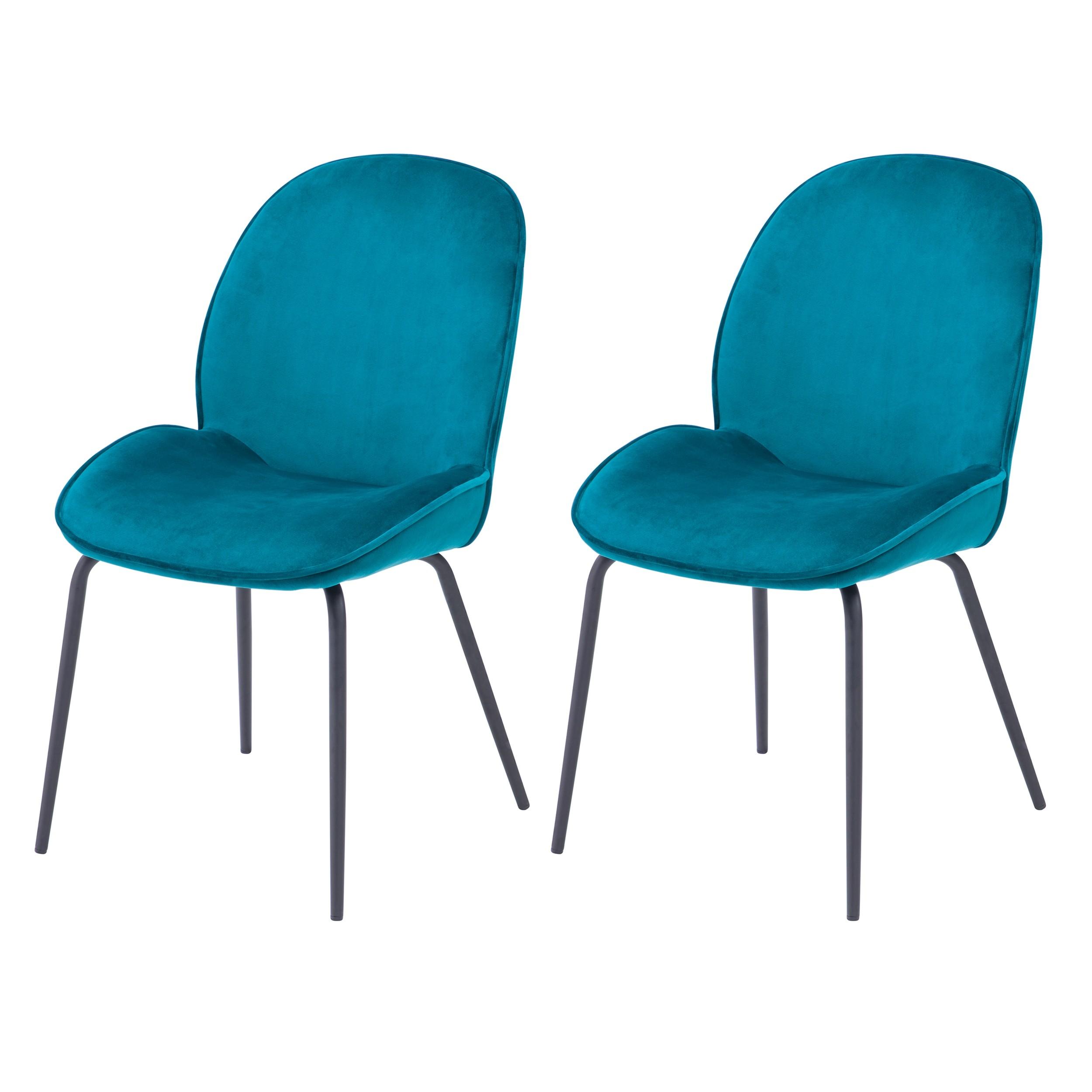 acheter chaise en velours lot de 2 bleu
