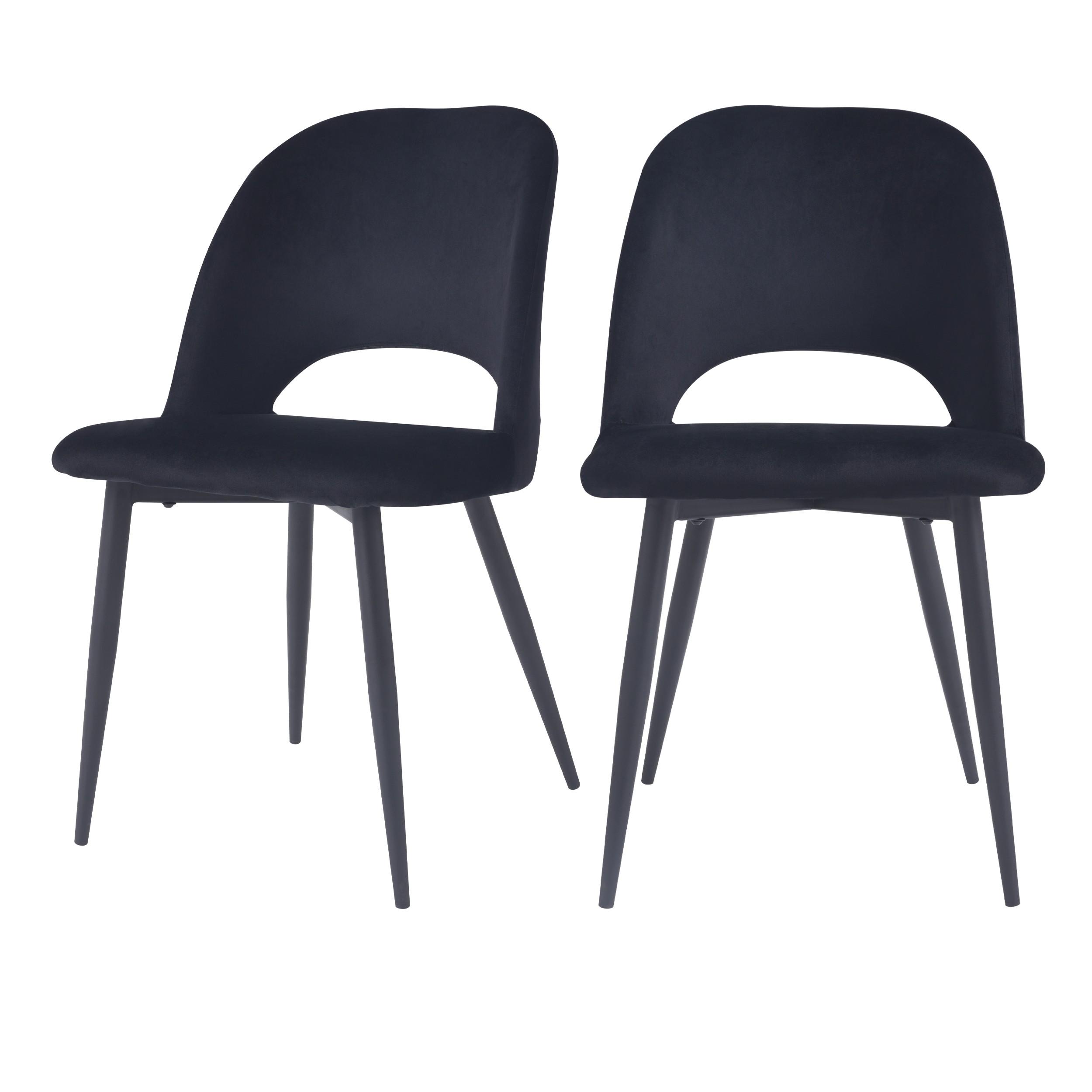 acheter chaise en velours noir pieds metal lot de 2