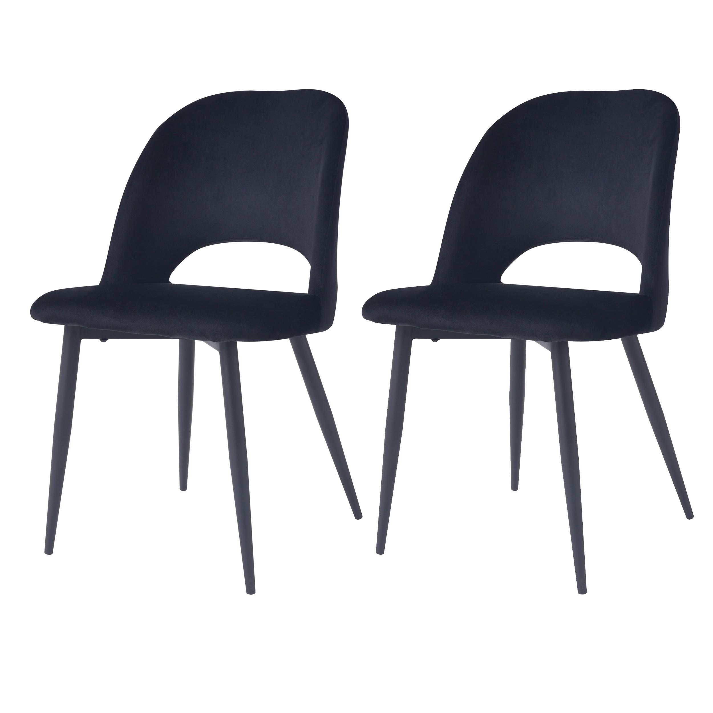 acheter chaise en velours noir pieds metal