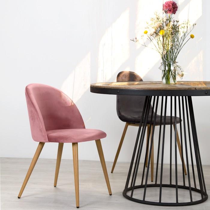 acheter chaise en velours rose scandinave